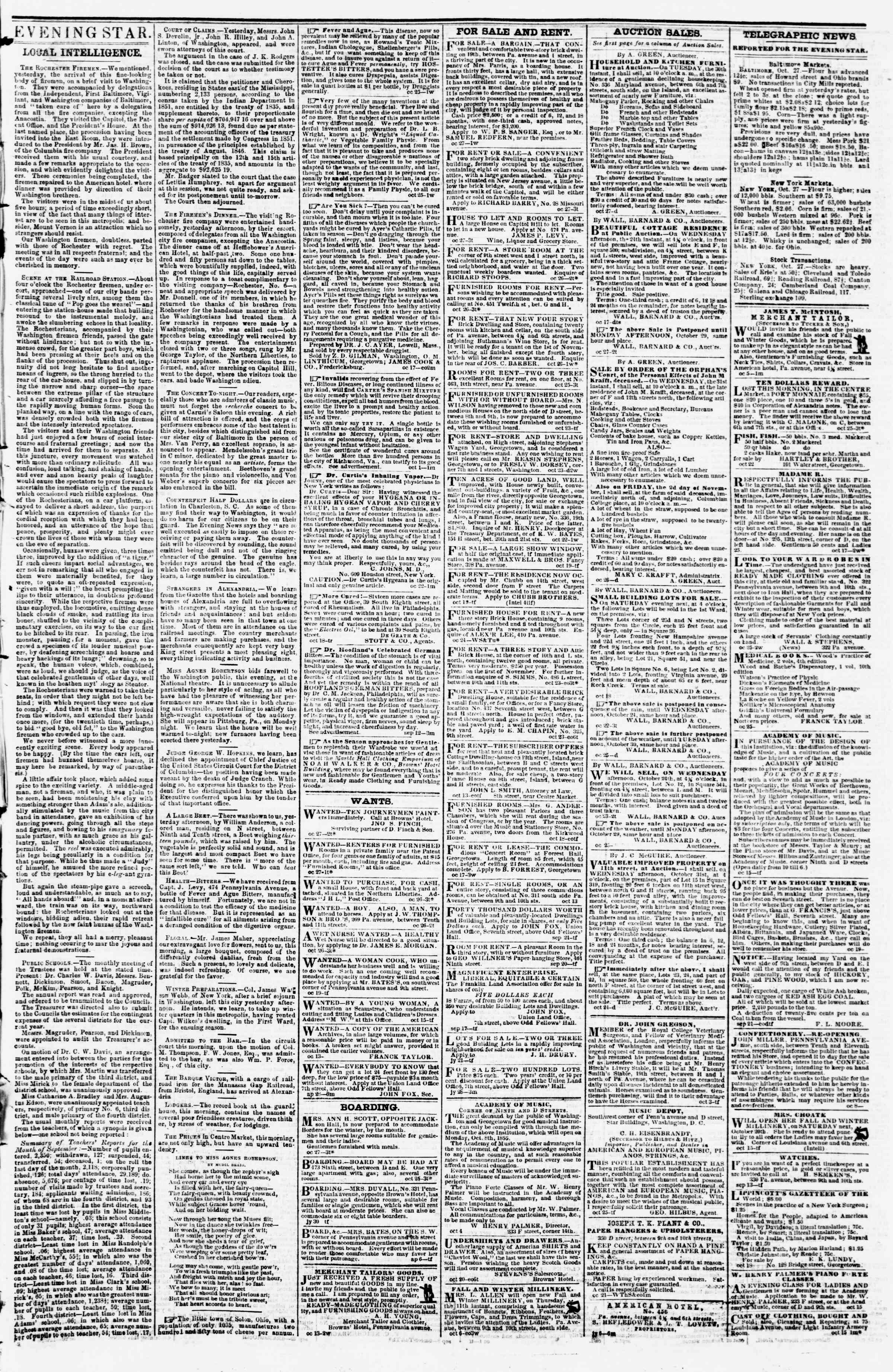 Newspaper of Evening Star dated October 27, 1855 Page 3