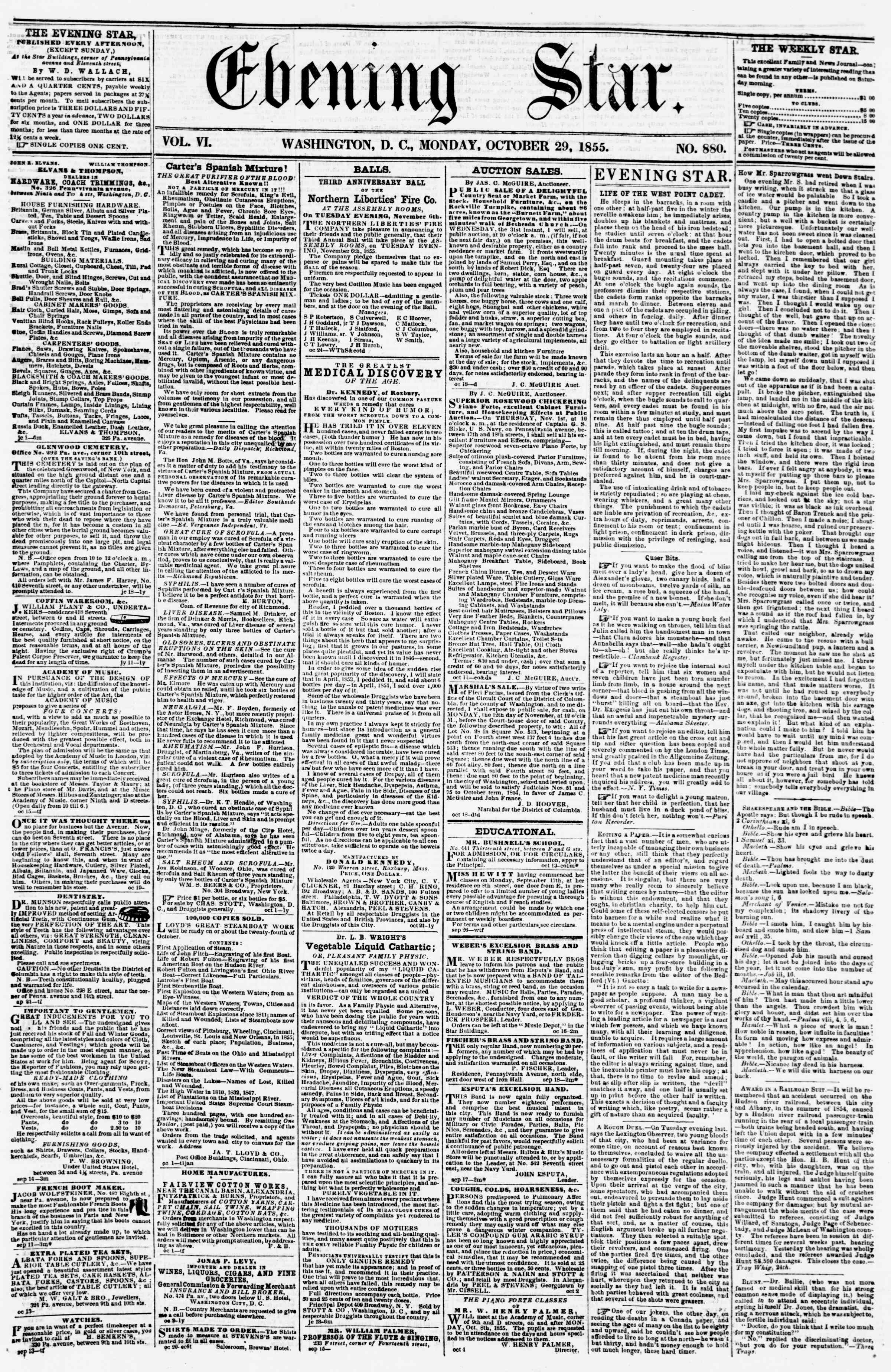 Newspaper of Evening Star dated October 29, 1855 Page 1