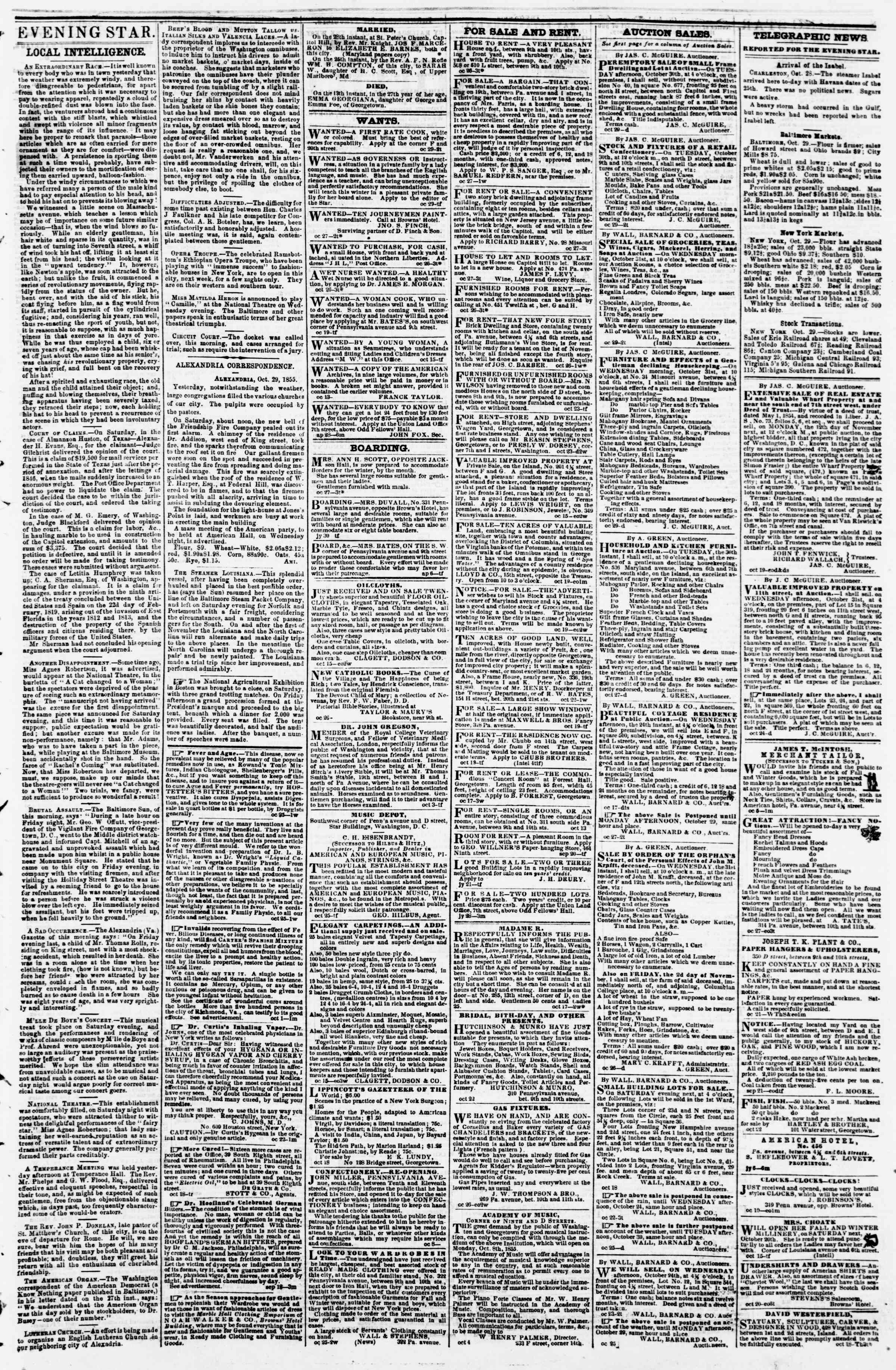 Newspaper of Evening Star dated October 29, 1855 Page 3