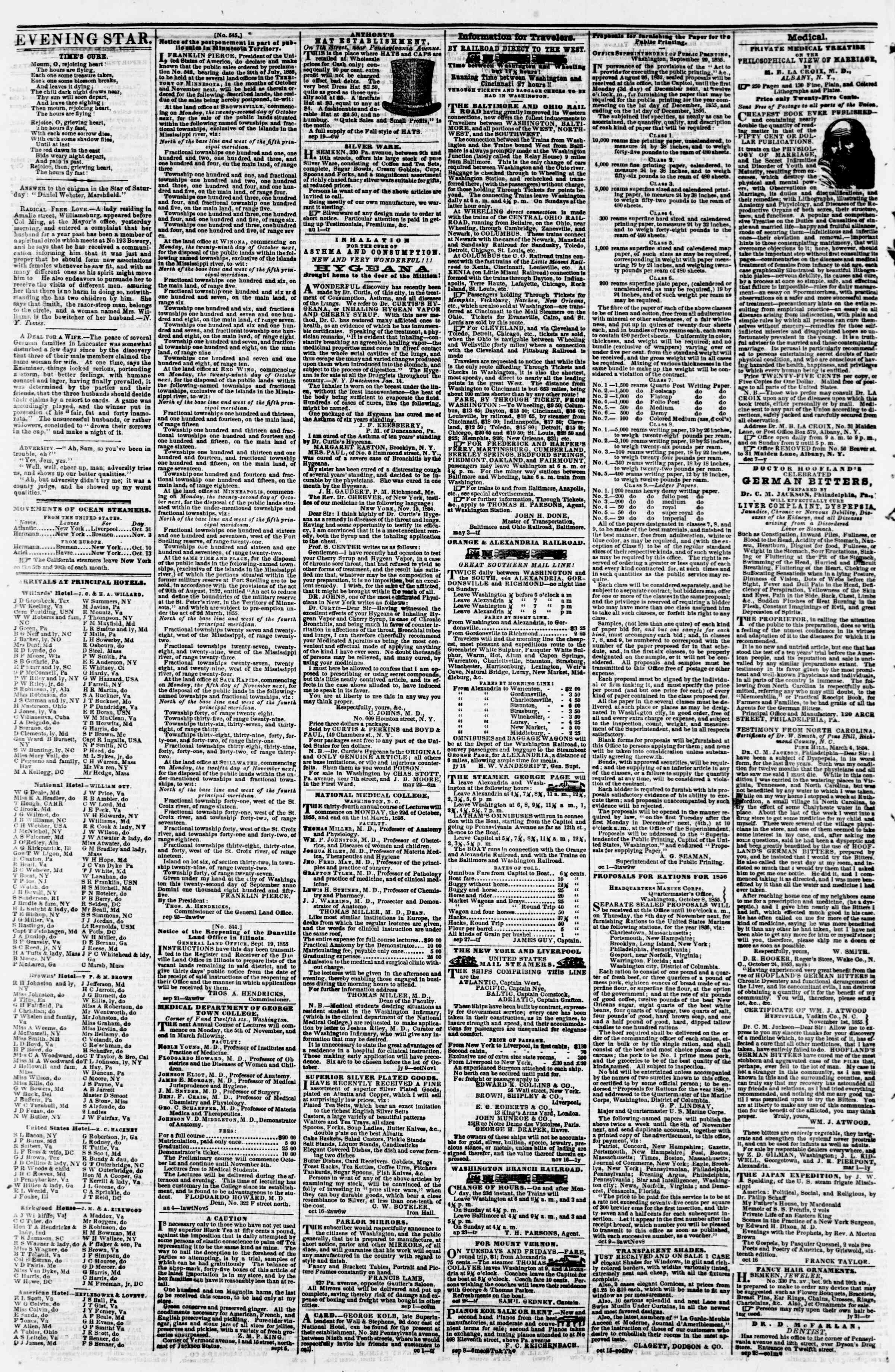 Newspaper of Evening Star dated October 29, 1855 Page 4