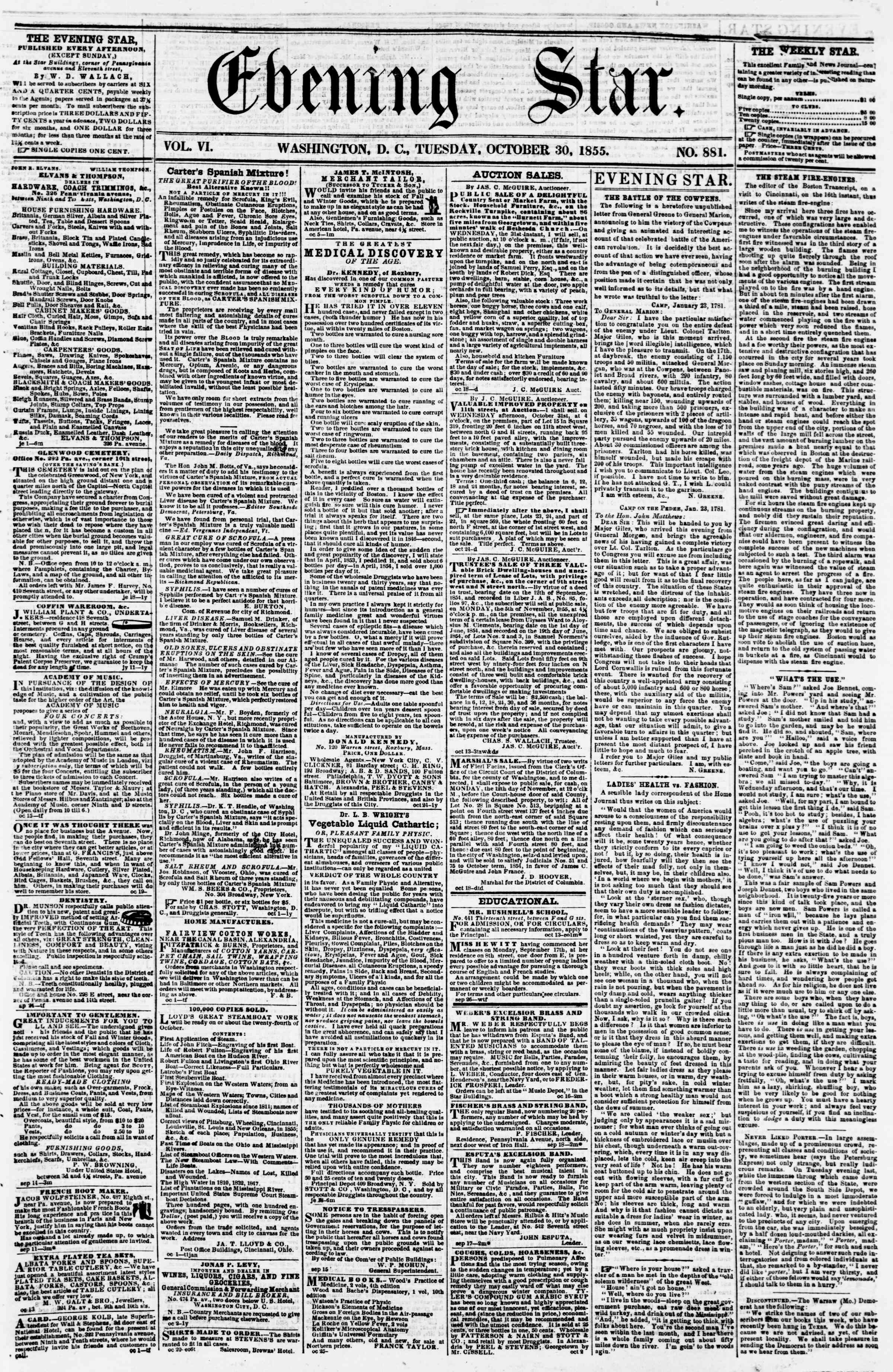 Newspaper of Evening Star dated October 30, 1855 Page 1