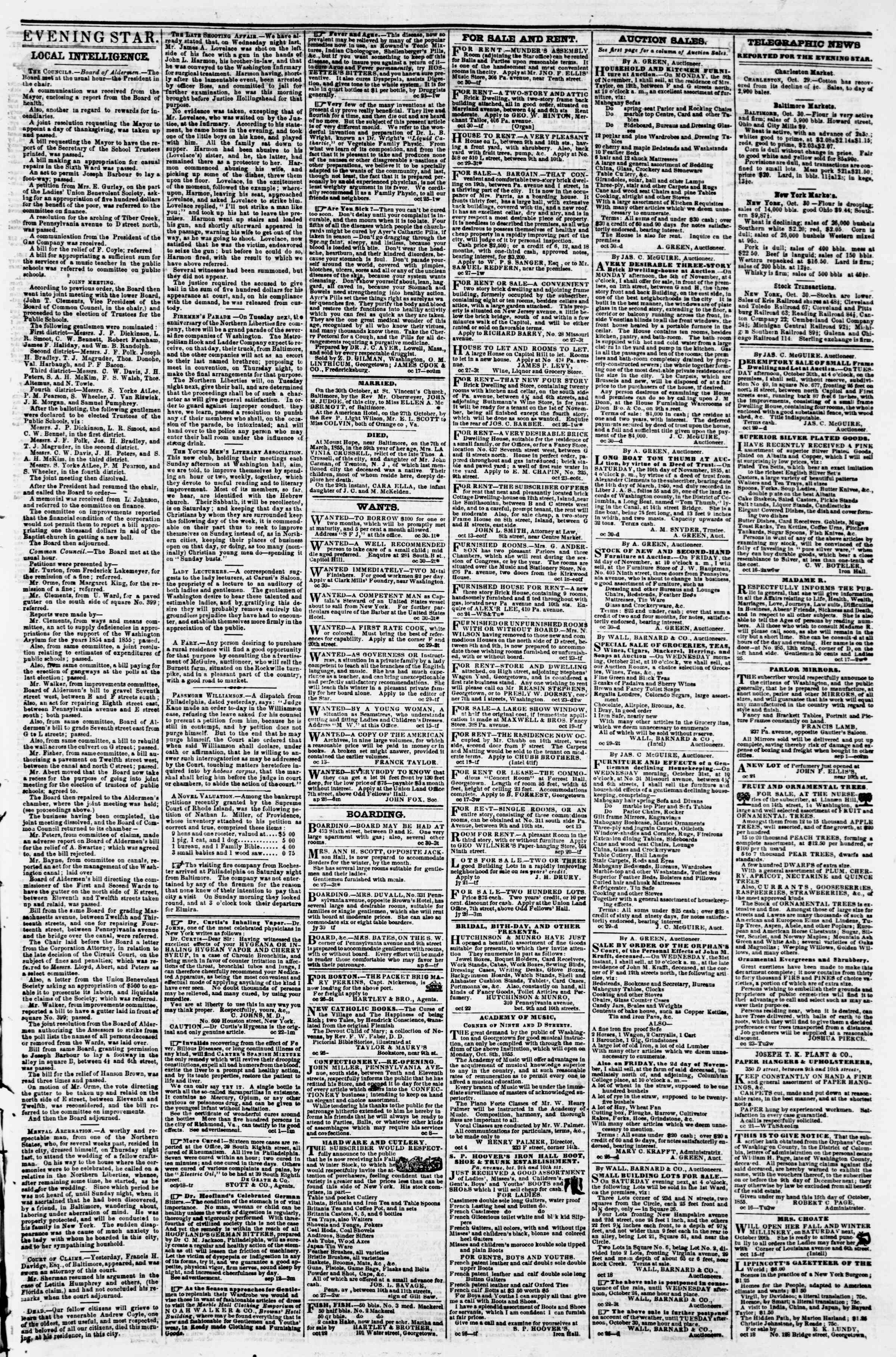 Newspaper of Evening Star dated October 30, 1855 Page 3