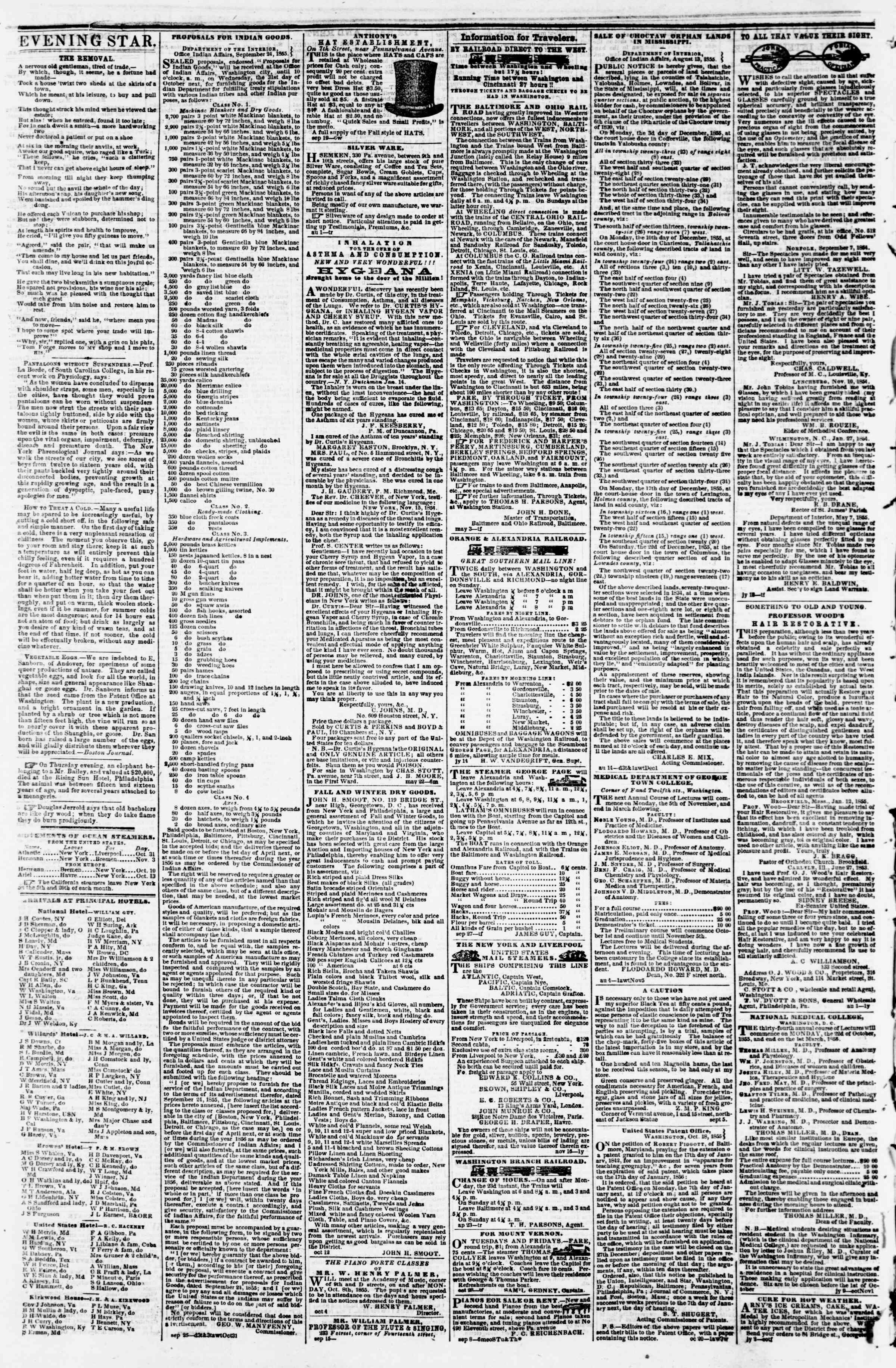 Newspaper of Evening Star dated October 30, 1855 Page 4