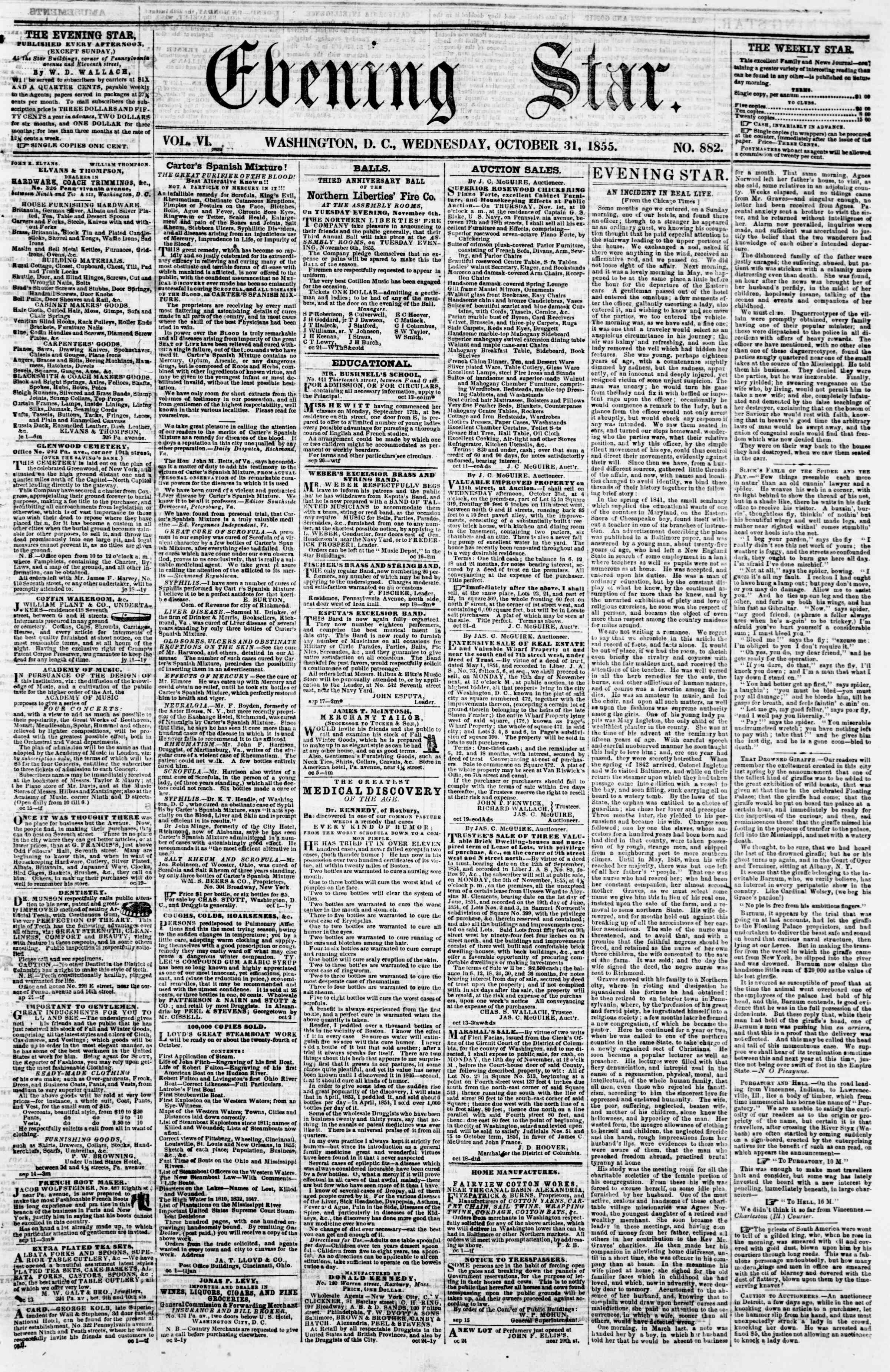 Newspaper of Evening Star dated October 31, 1855 Page 1