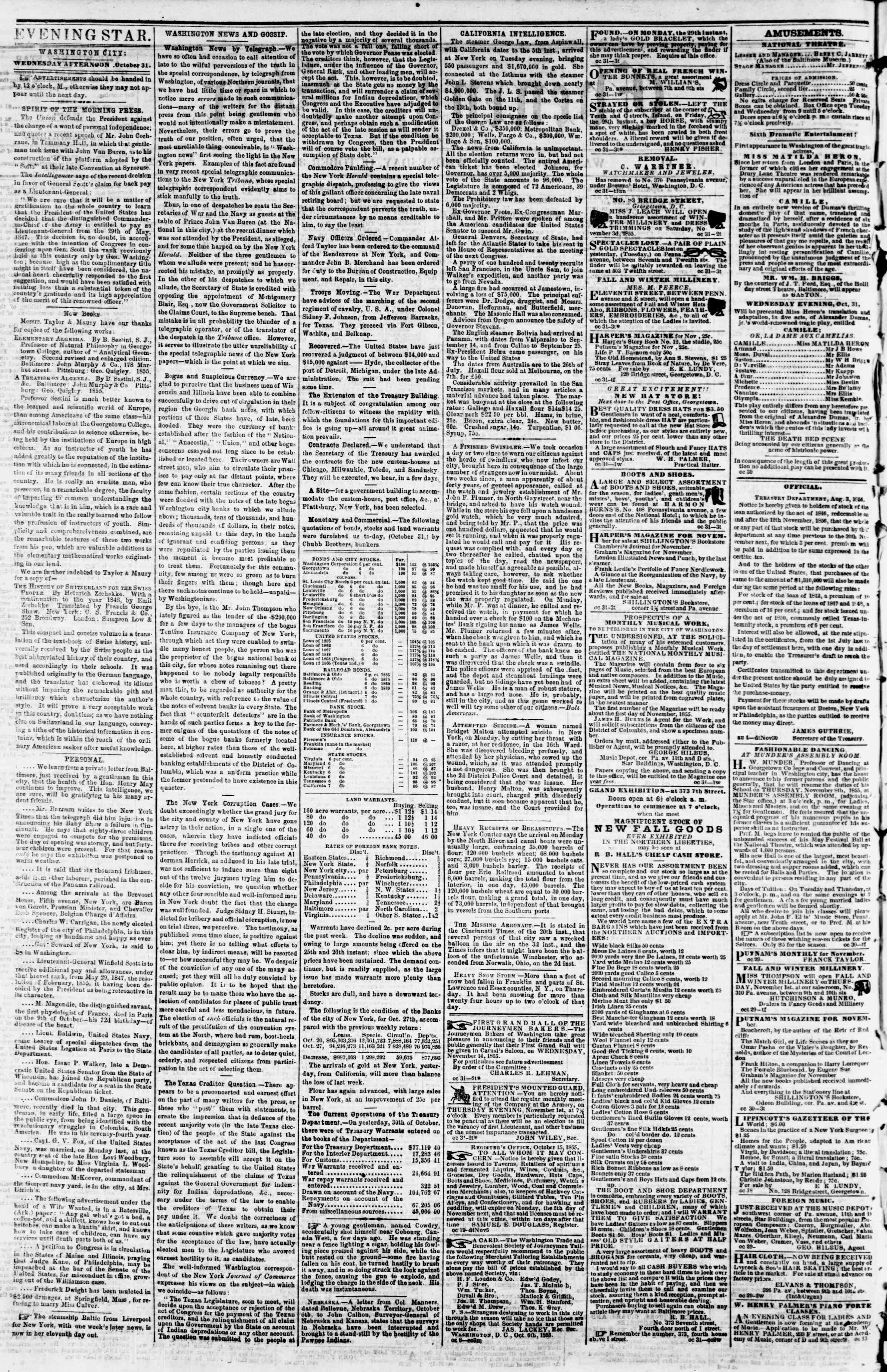 Newspaper of Evening Star dated October 31, 1855 Page 2
