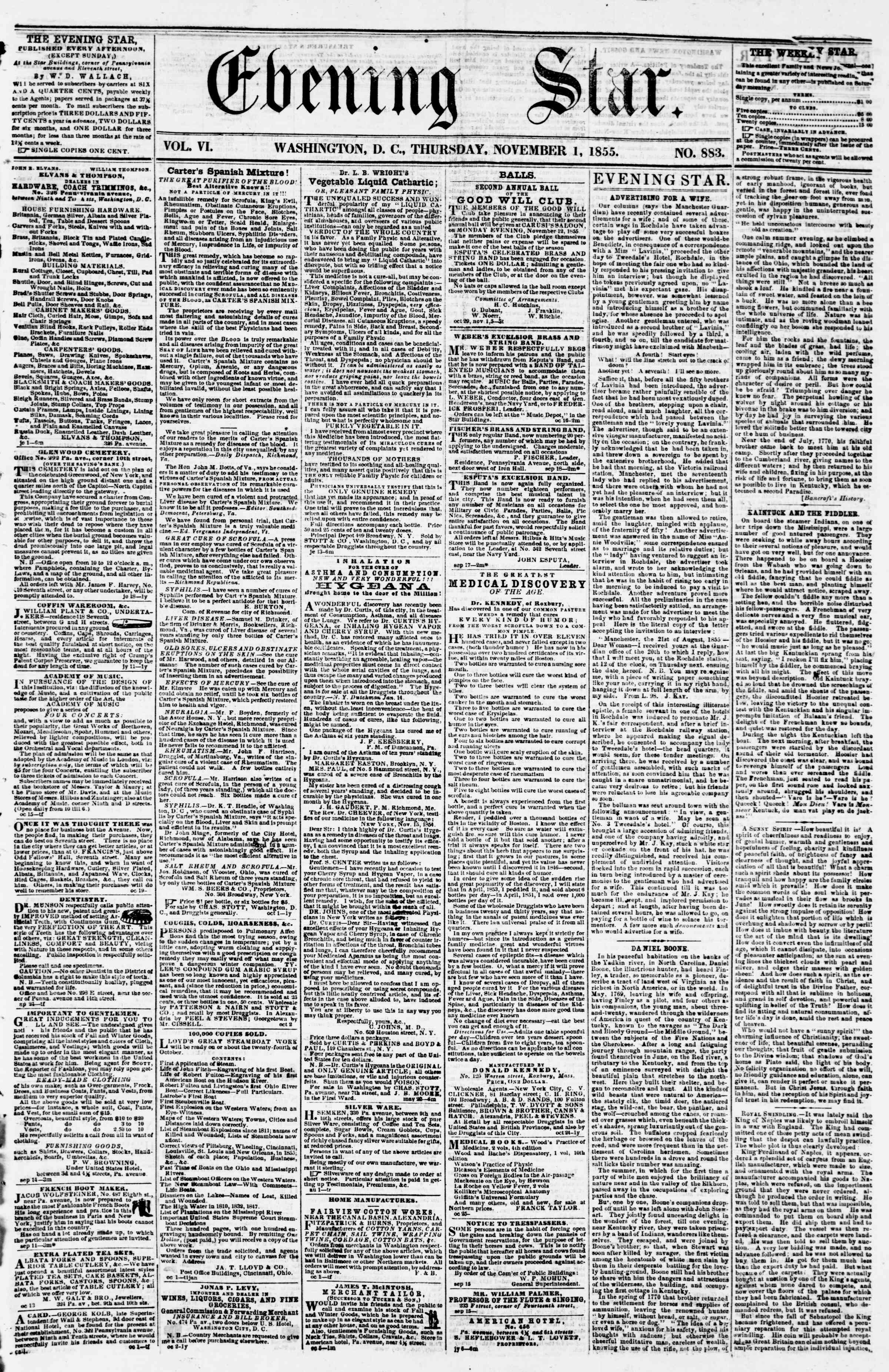 Newspaper of Evening Star dated November 1, 1855 Page 1
