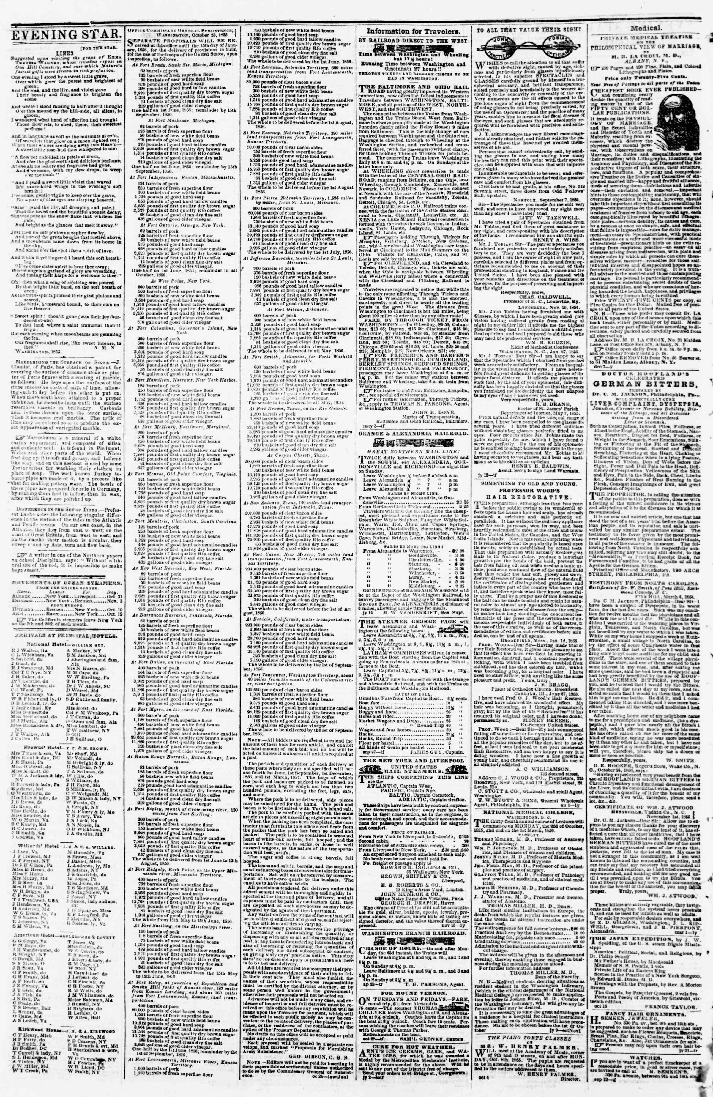 Newspaper of Evening Star dated November 1, 1855 Page 4