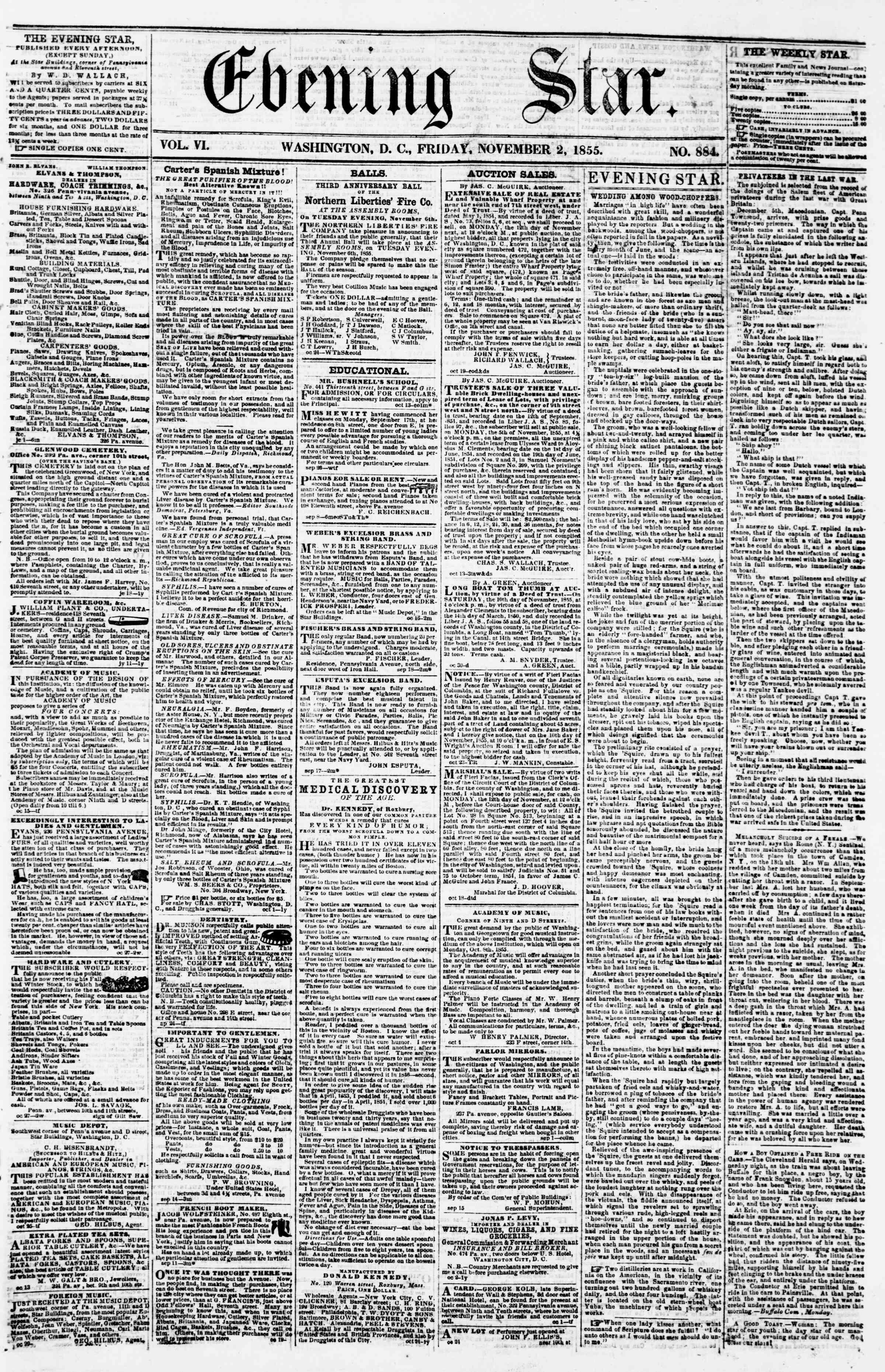 Newspaper of Evening Star dated 2 Kasım 1855 Page 1