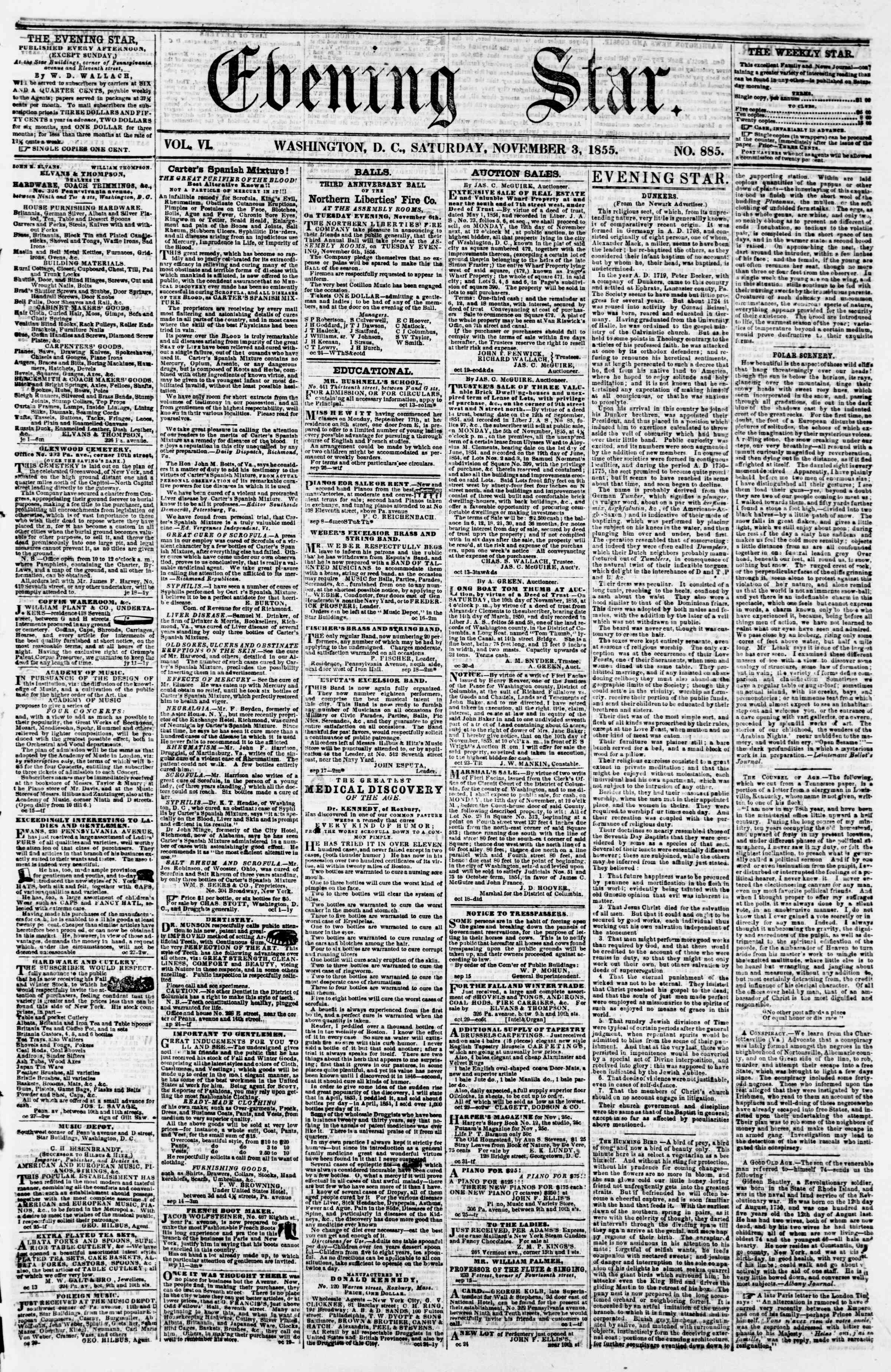 Newspaper of Evening Star dated November 3, 1855 Page 1