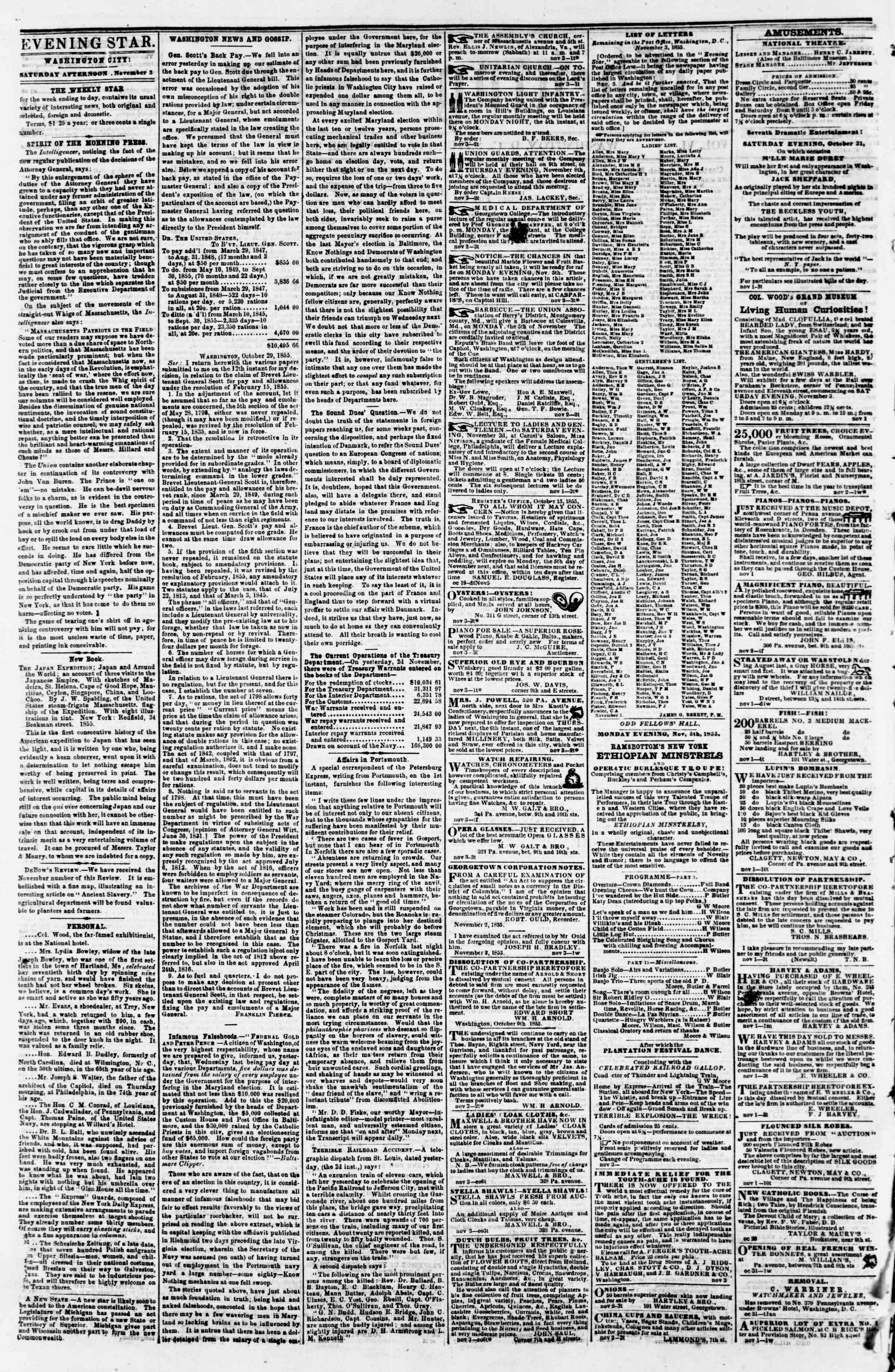 Newspaper of Evening Star dated November 3, 1855 Page 2