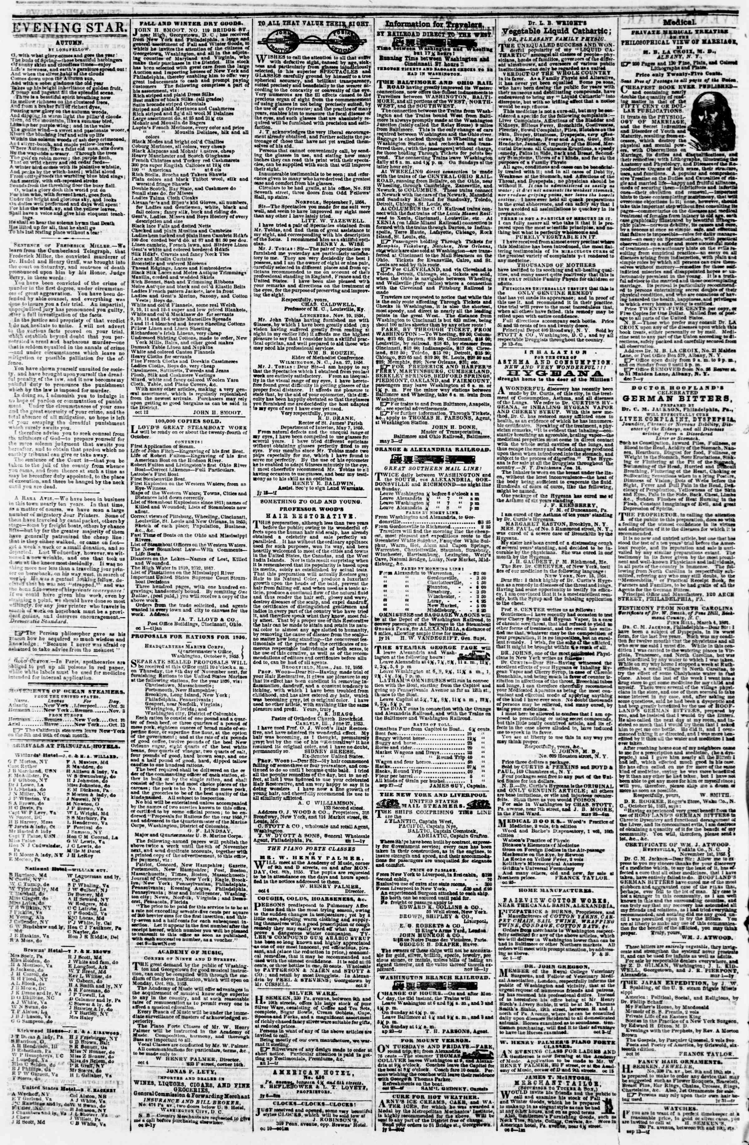 Newspaper of Evening Star dated 3 Kasım 1855 Page 4
