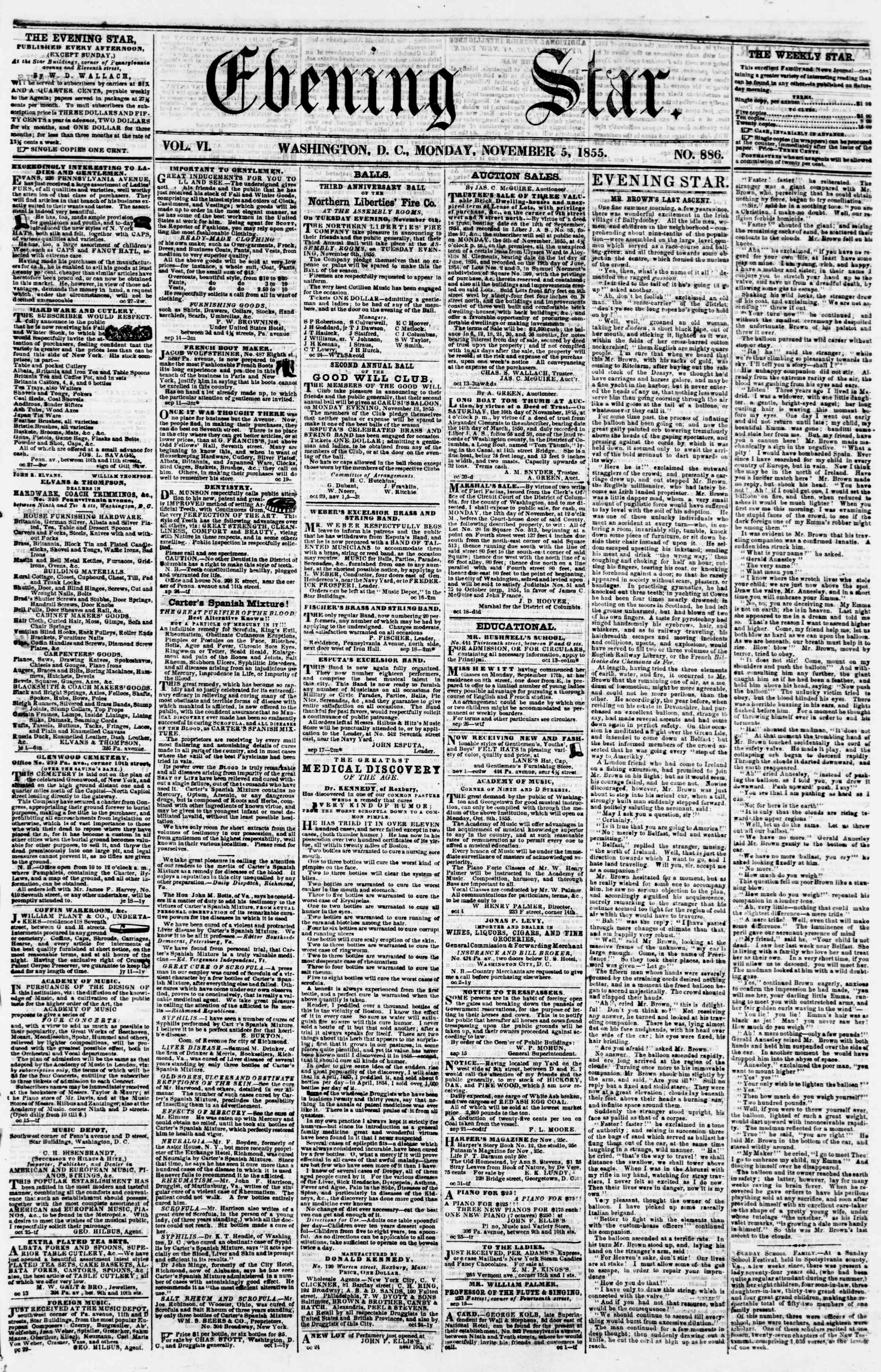 Newspaper of Evening Star dated November 5, 1855 Page 1