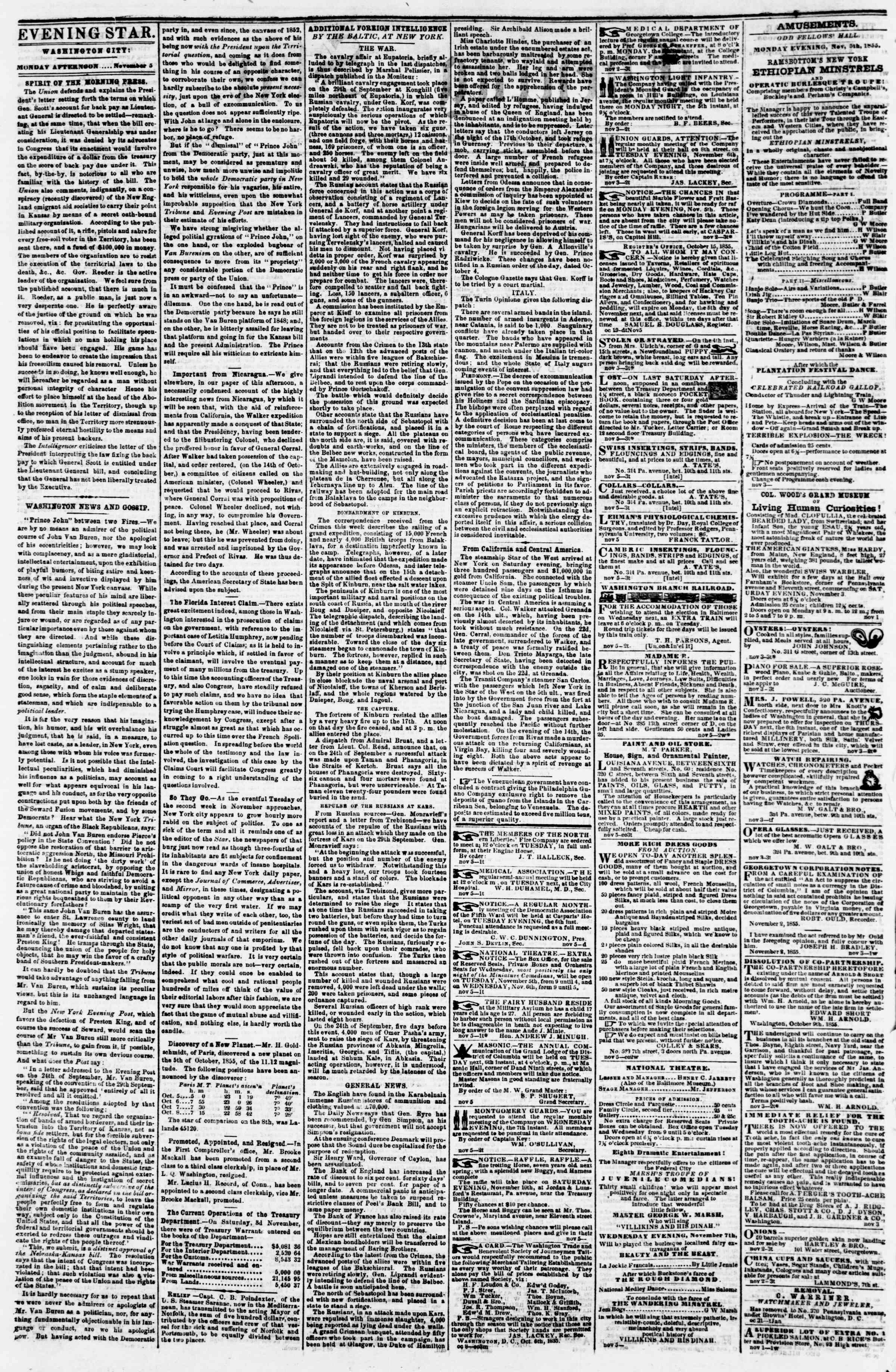 Newspaper of Evening Star dated November 5, 1855 Page 2