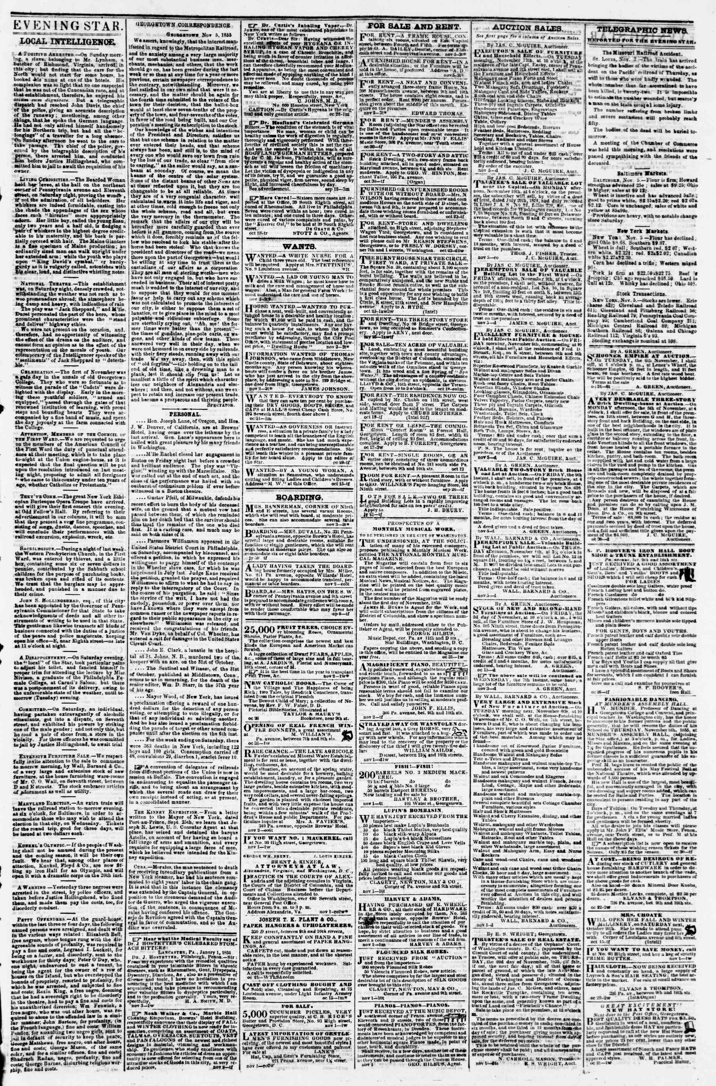 Newspaper of Evening Star dated November 5, 1855 Page 3