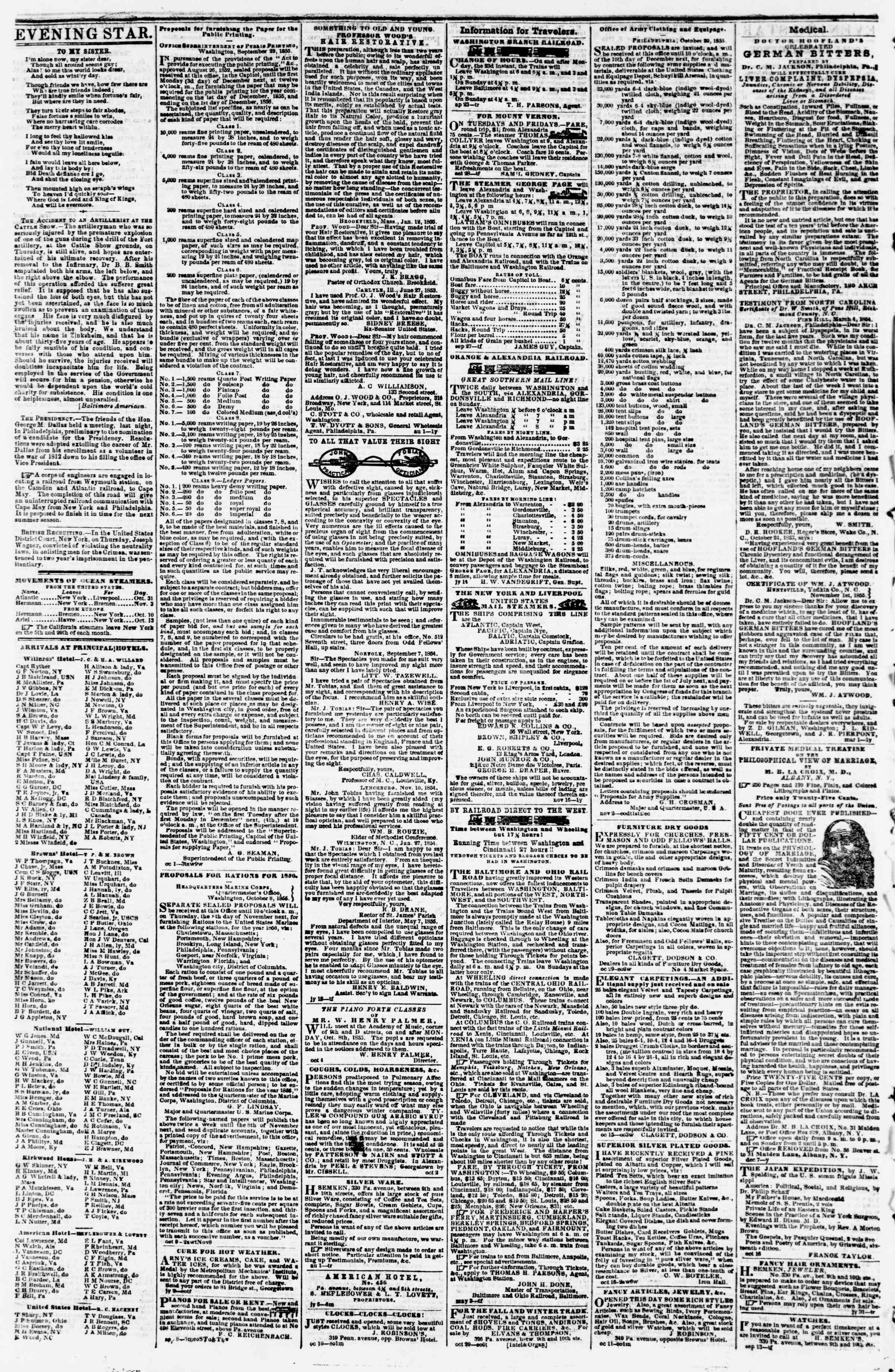 Newspaper of Evening Star dated November 5, 1855 Page 4
