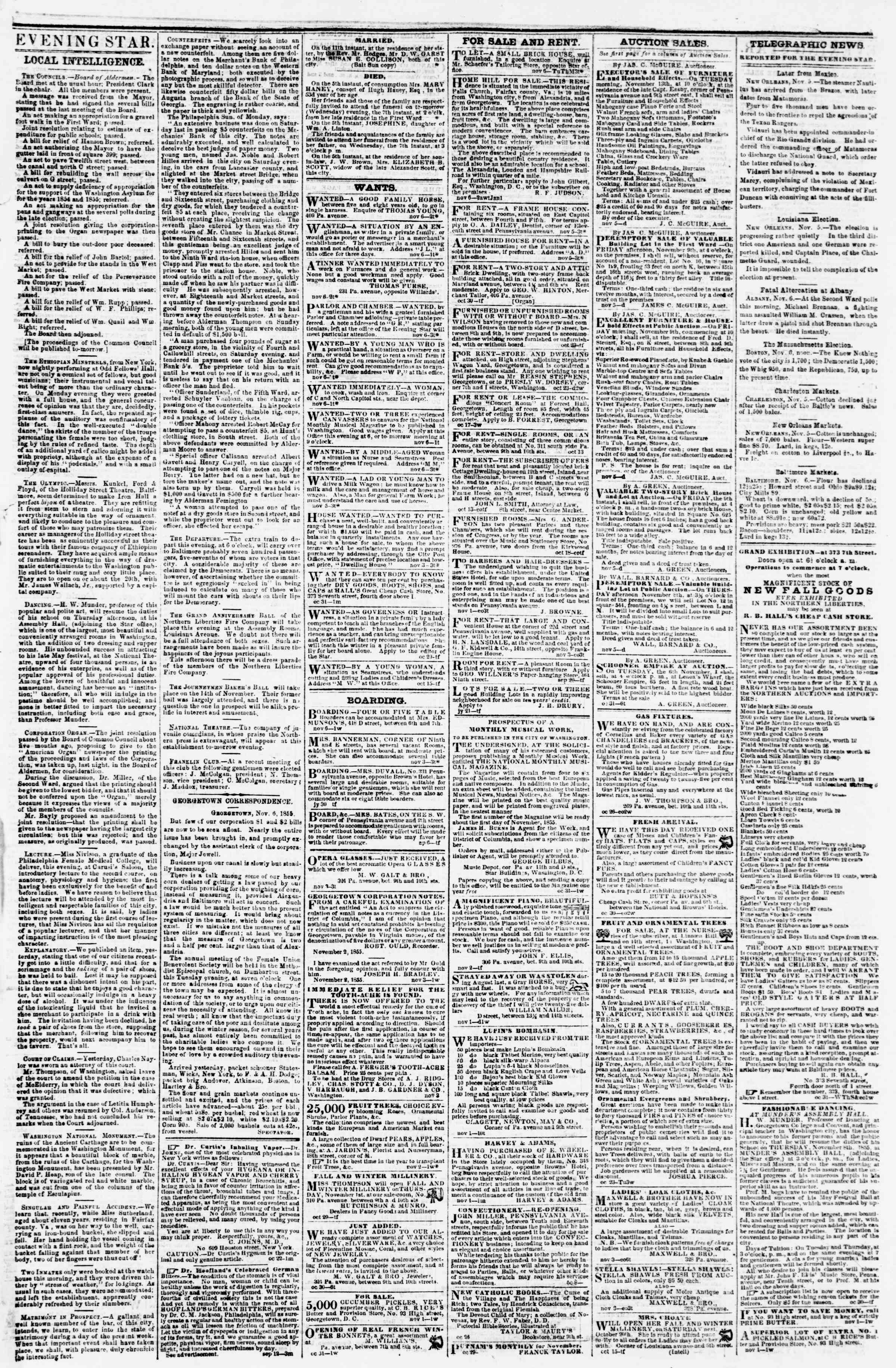Newspaper of Evening Star dated November 6, 1855 Page 3