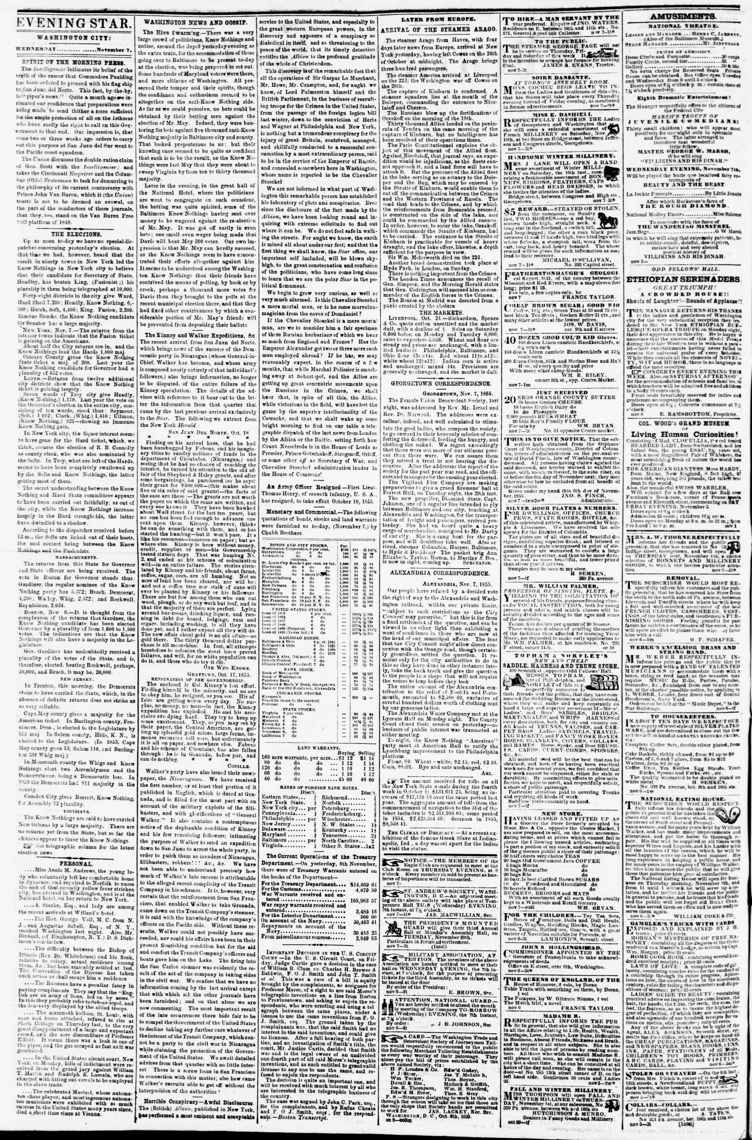 Newspaper of Evening Star dated November 7, 1855 Page 2