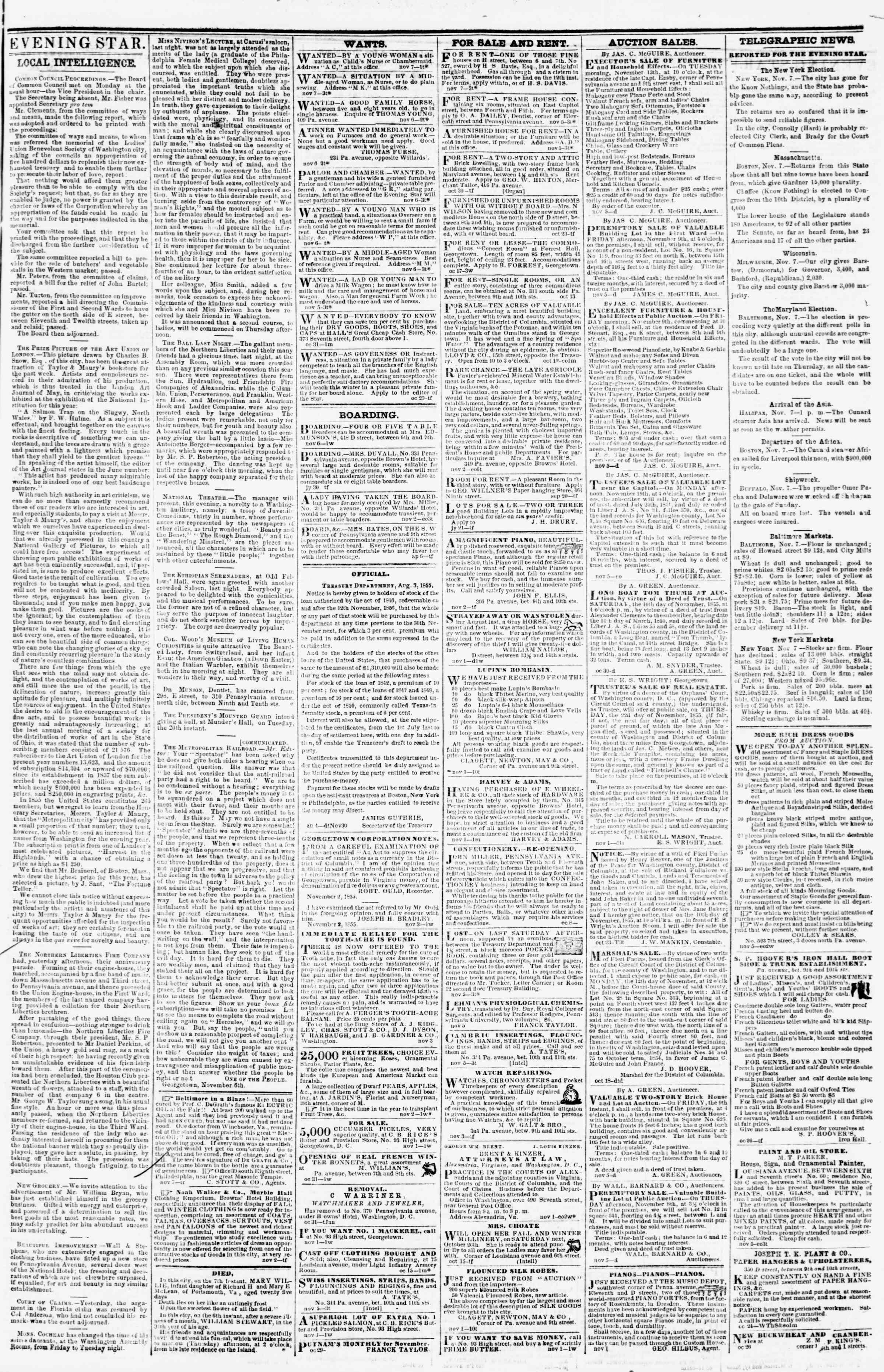 Newspaper of Evening Star dated November 7, 1855 Page 3