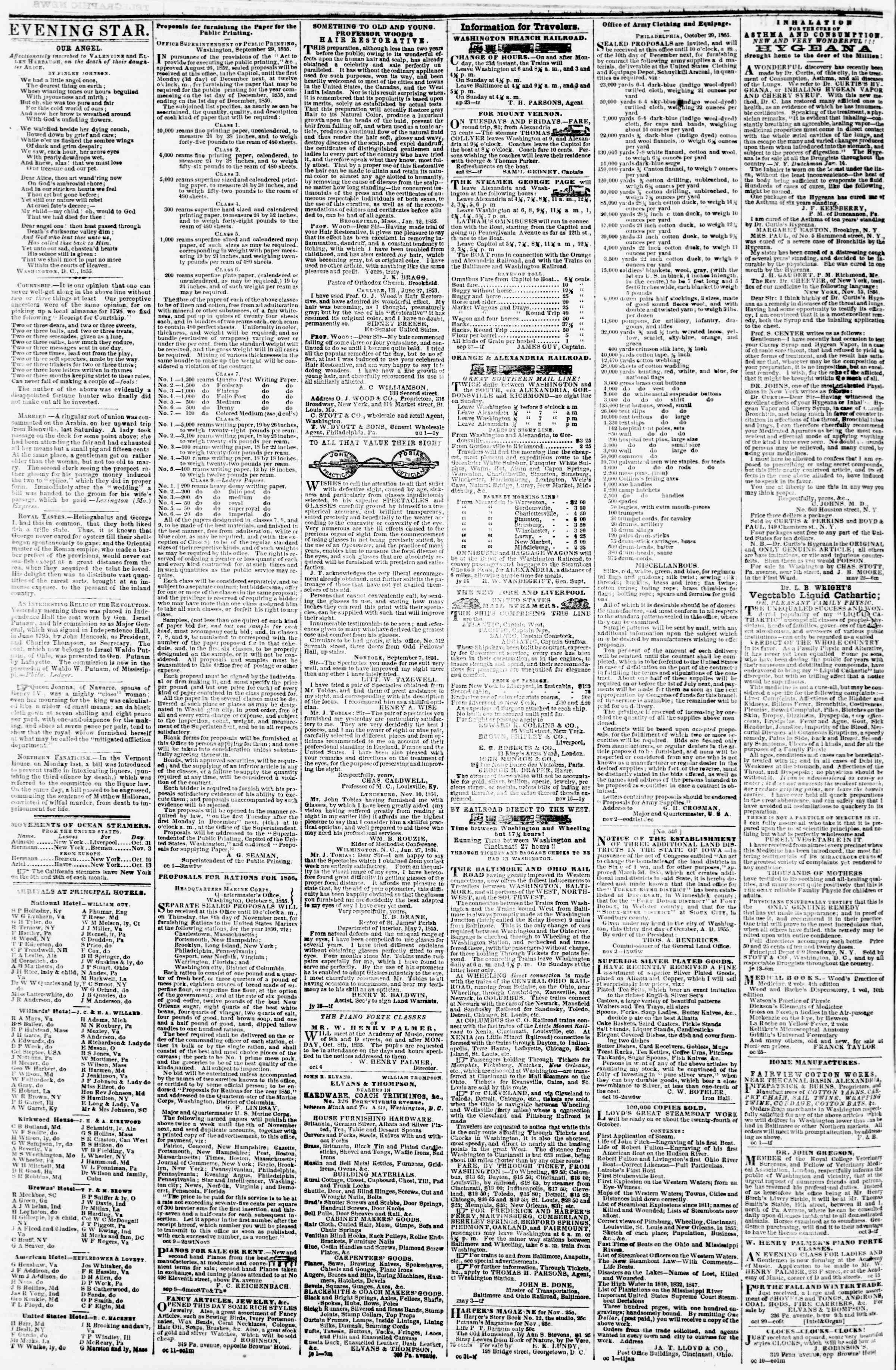 Newspaper of Evening Star dated November 7, 1855 Page 4