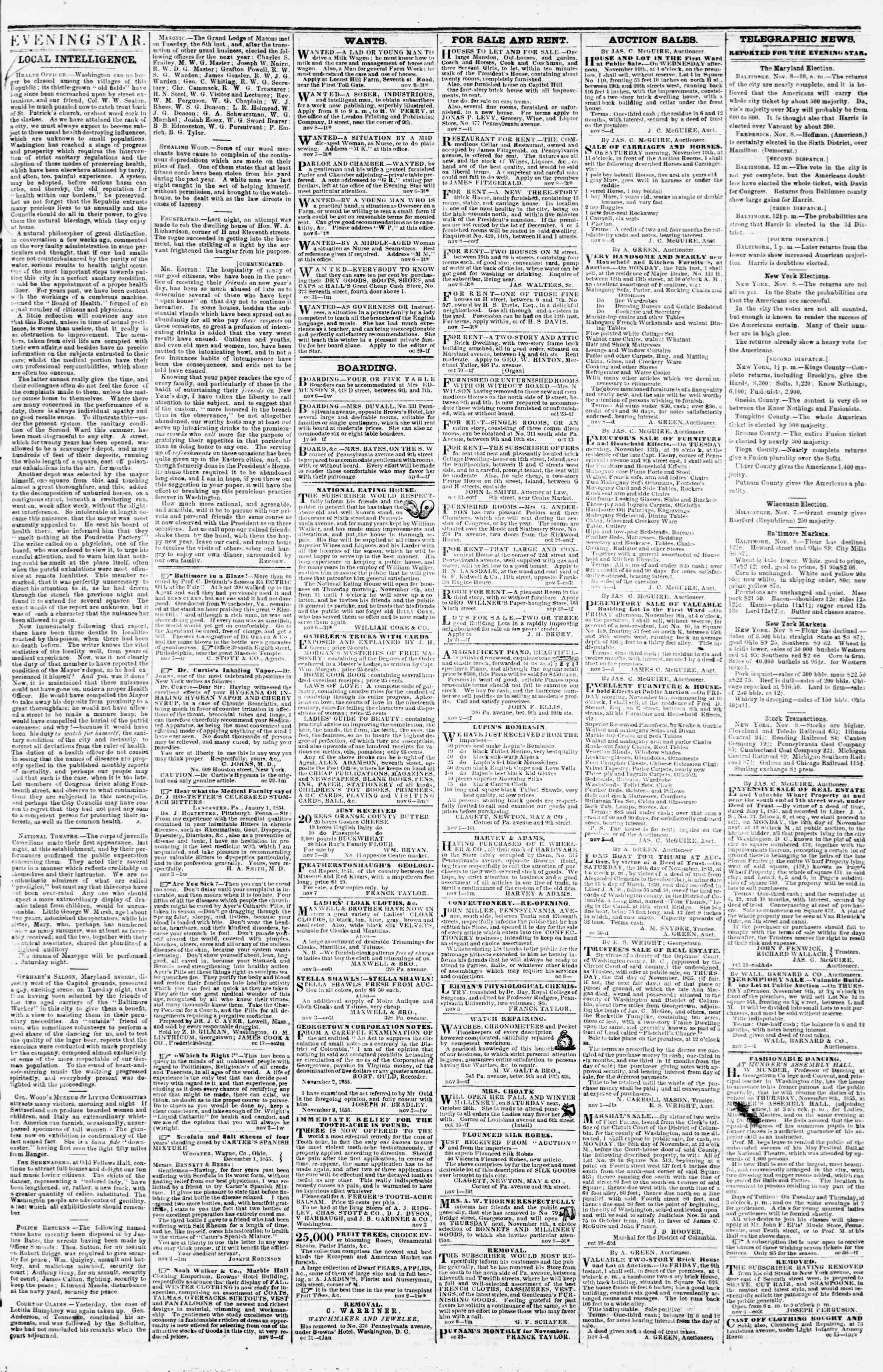 Newspaper of Evening Star dated November 8, 1855 Page 3