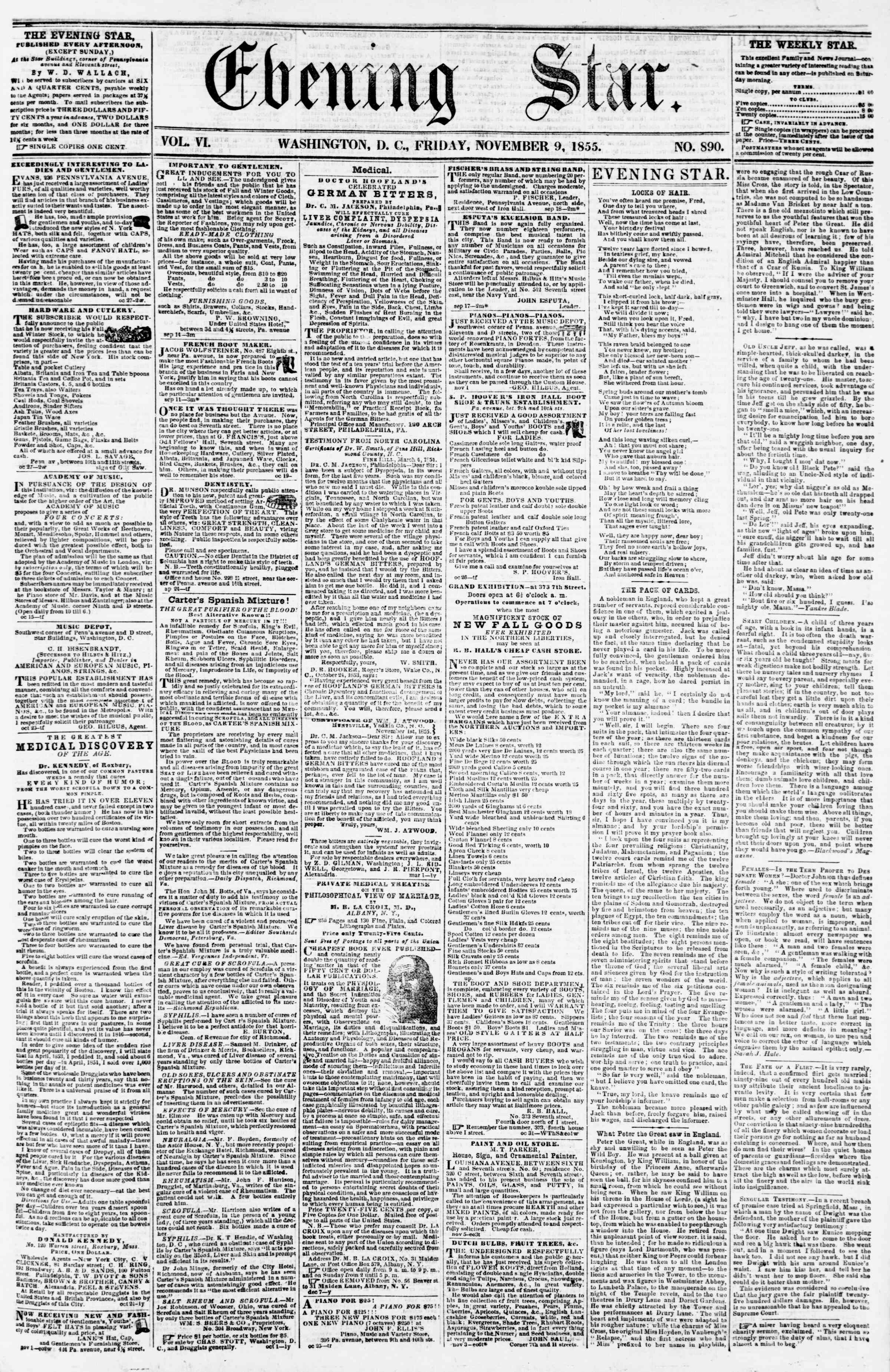 Newspaper of Evening Star dated November 9, 1855 Page 1