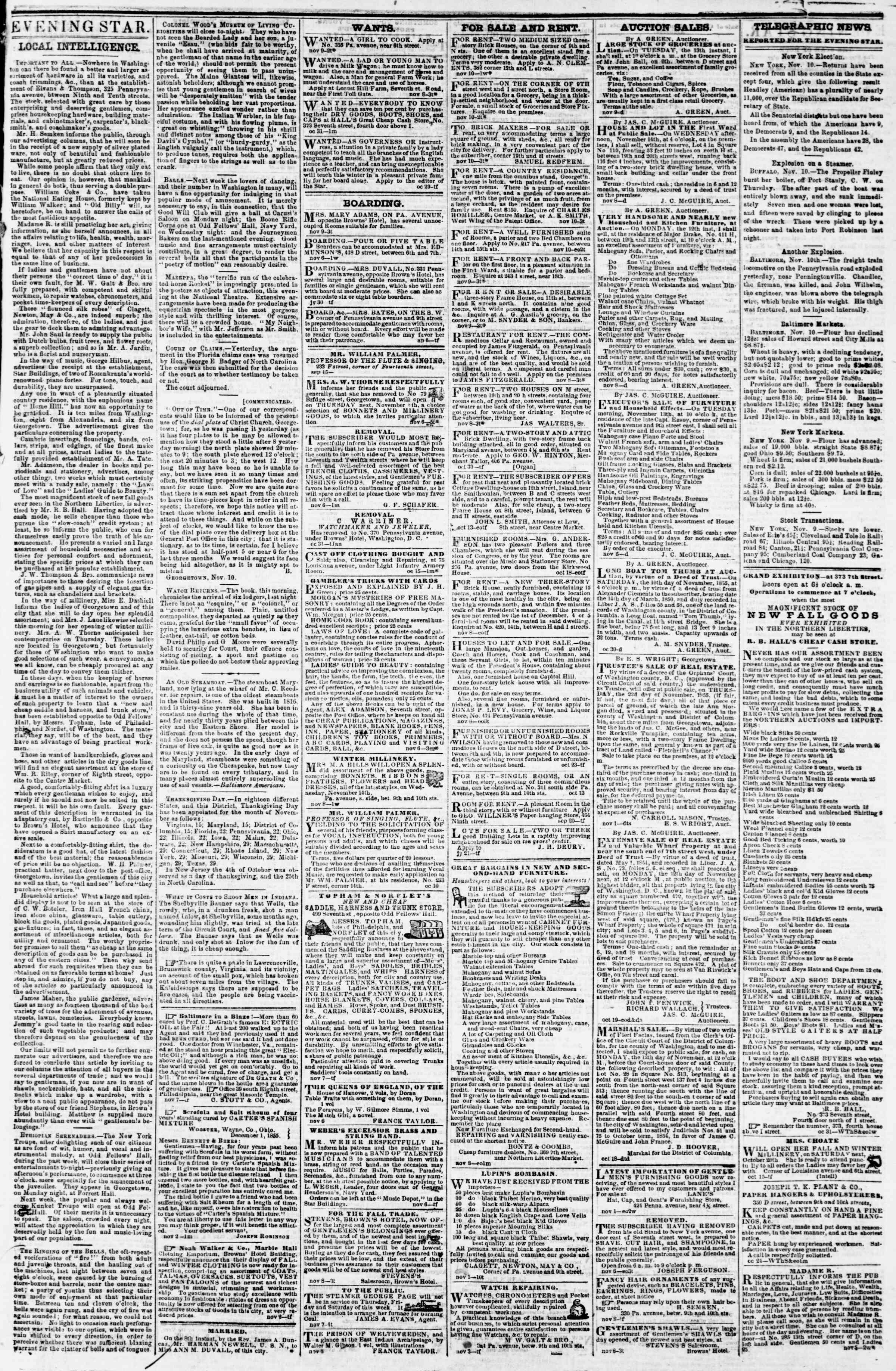 Newspaper of Evening Star dated November 10, 1855 Page 3