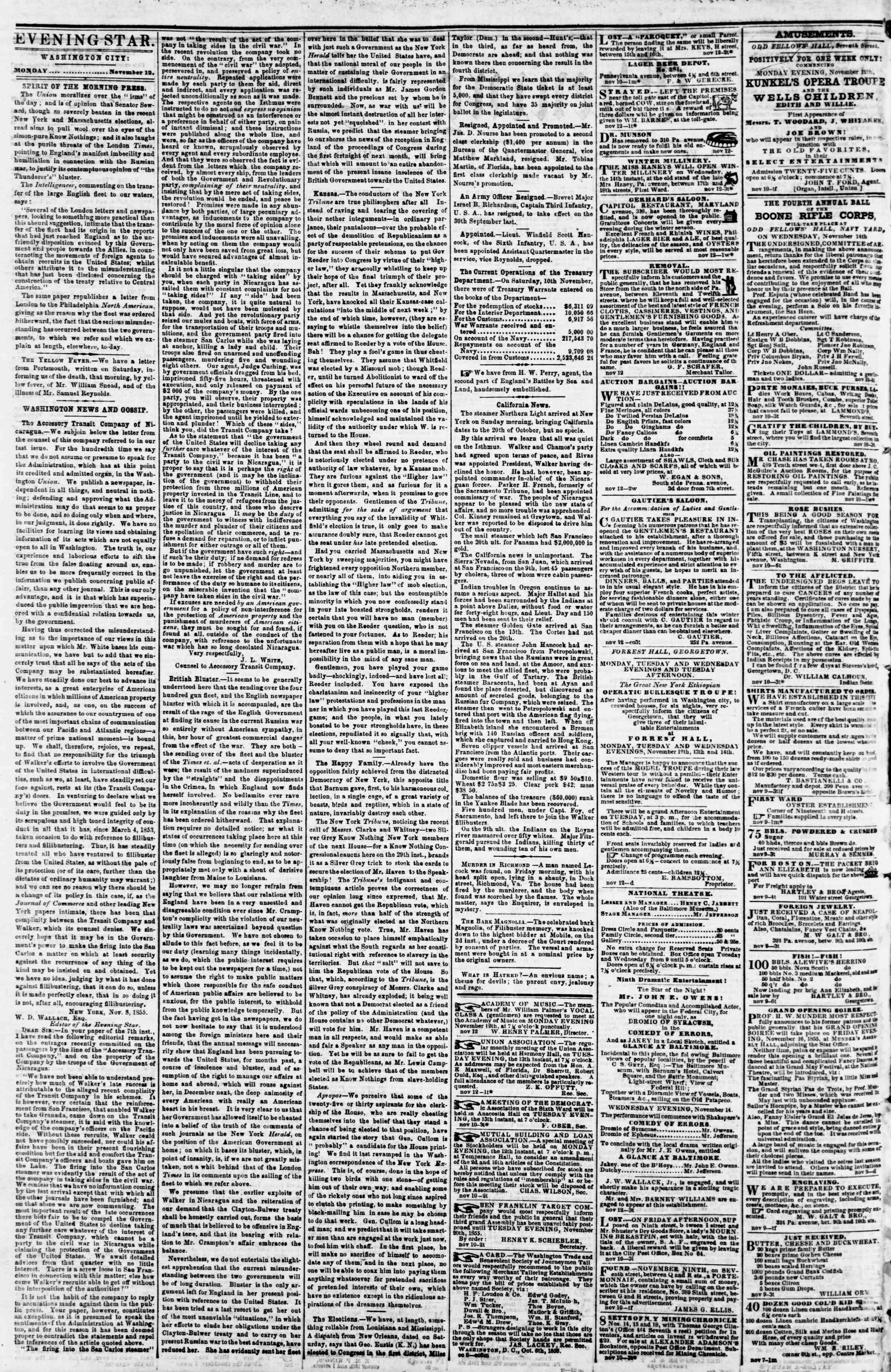 Newspaper of Evening Star dated November 12, 1855 Page 2