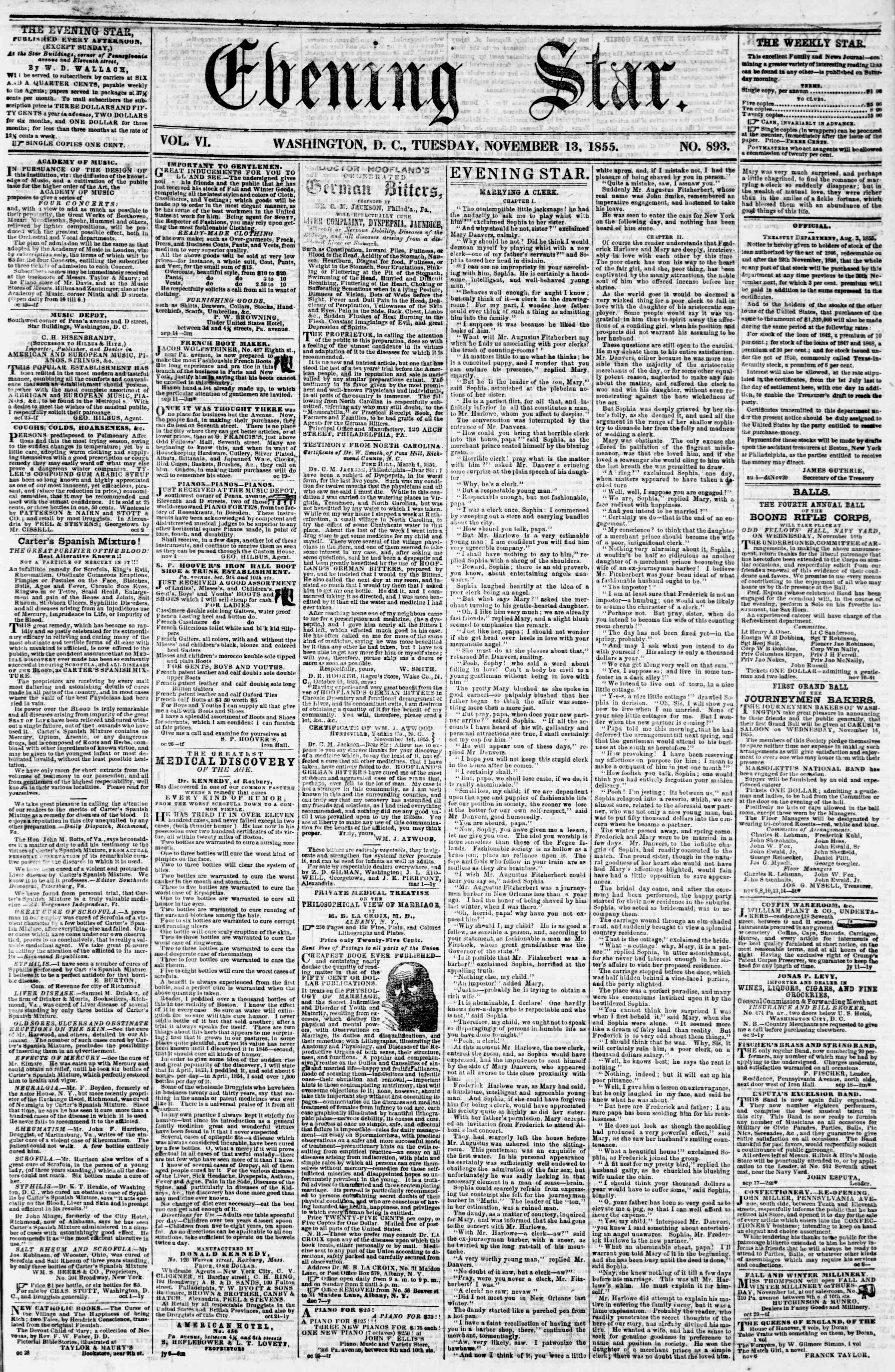 Newspaper of Evening Star dated November 13, 1855 Page 1