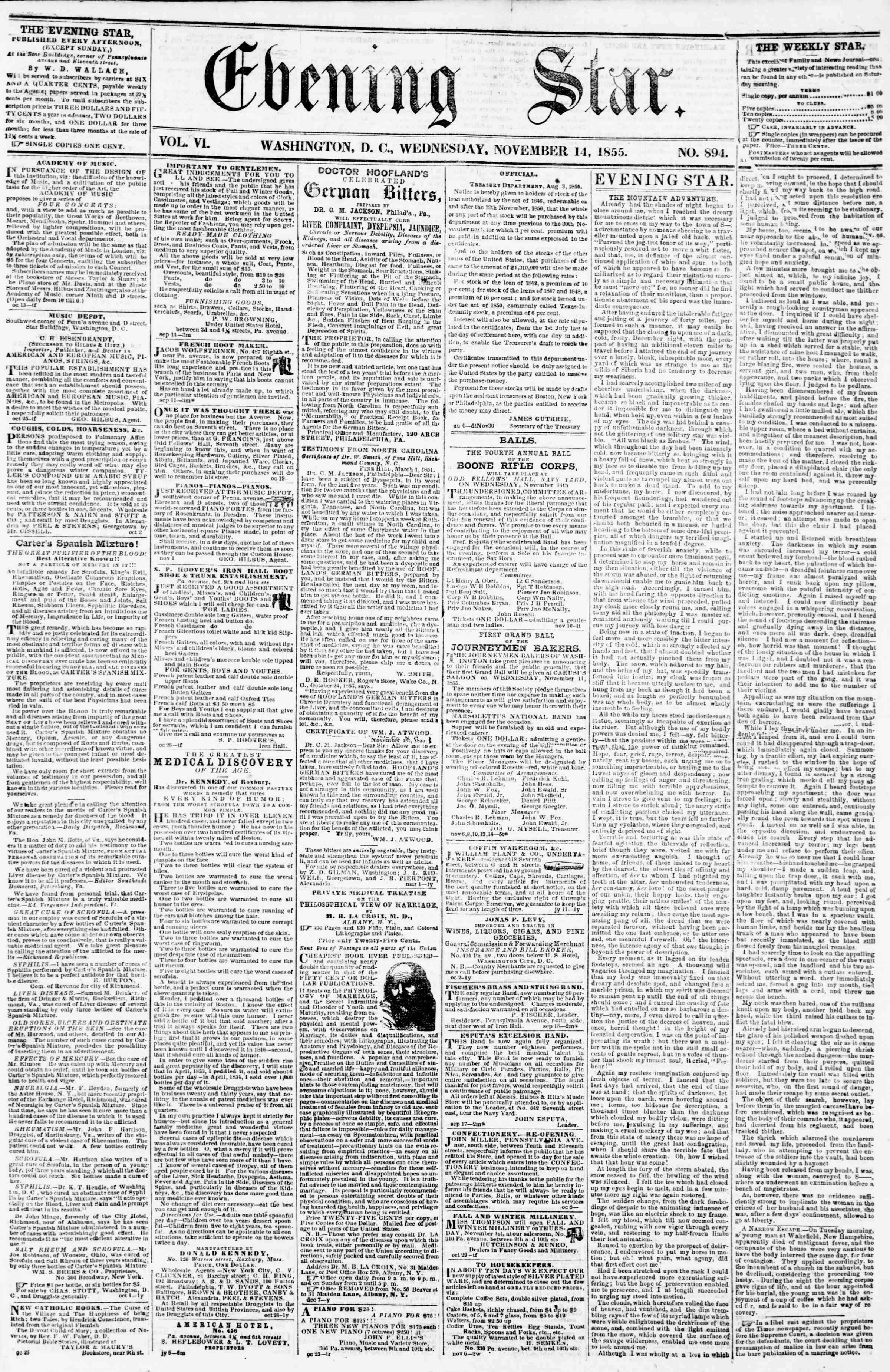 Newspaper of Evening Star dated November 14, 1855 Page 1