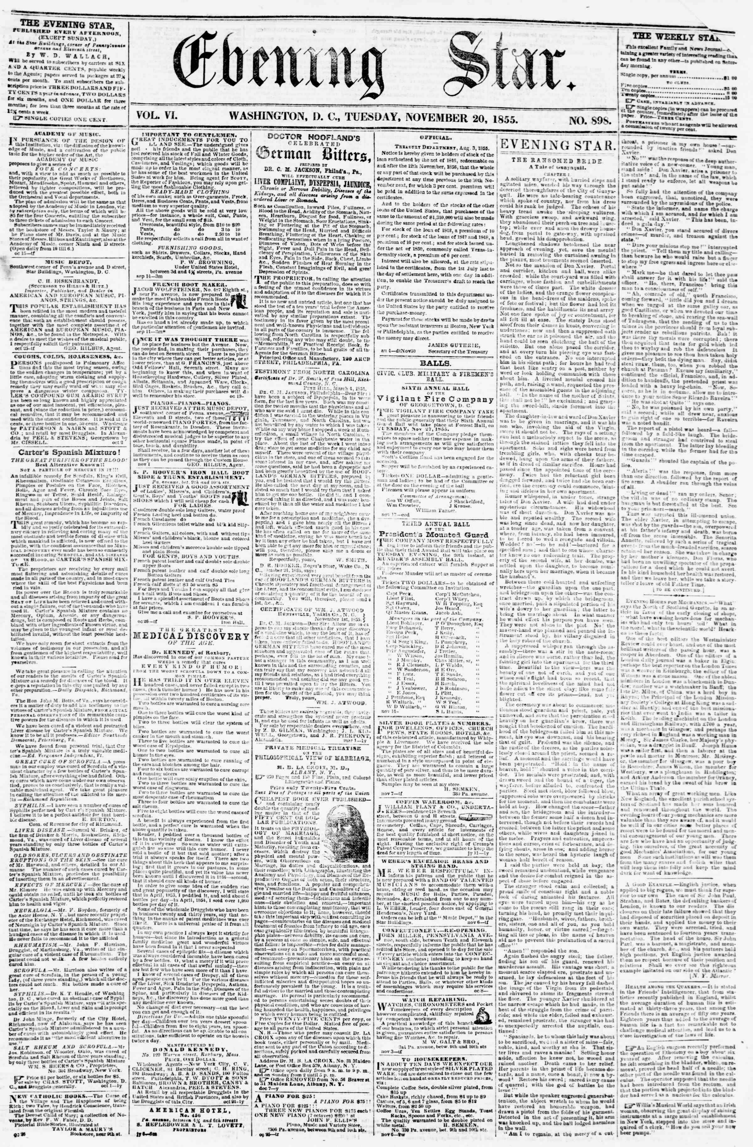 Newspaper of Evening Star dated November 20, 1855 Page 1
