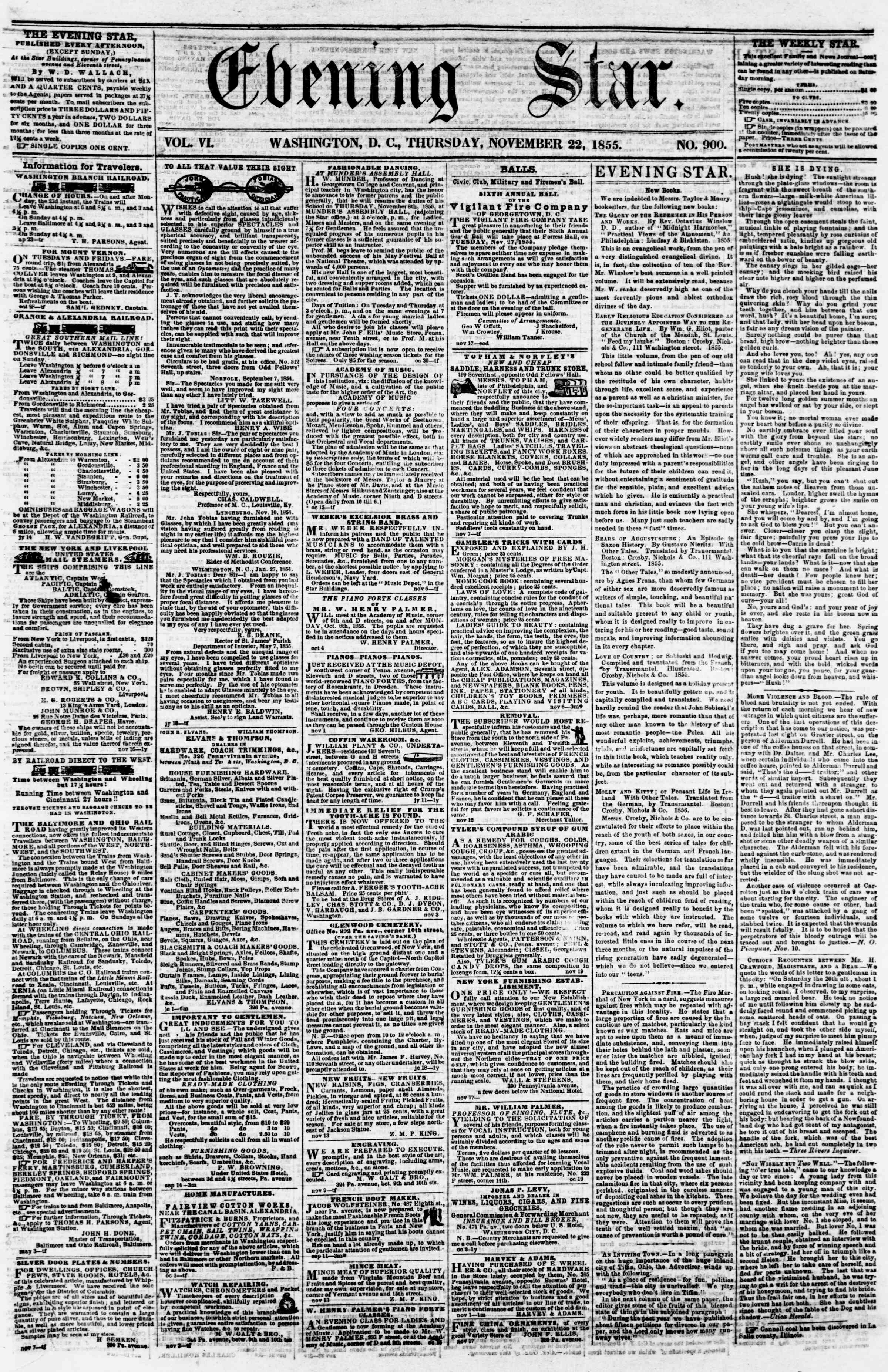 Newspaper of Evening Star dated November 22, 1855 Page 1