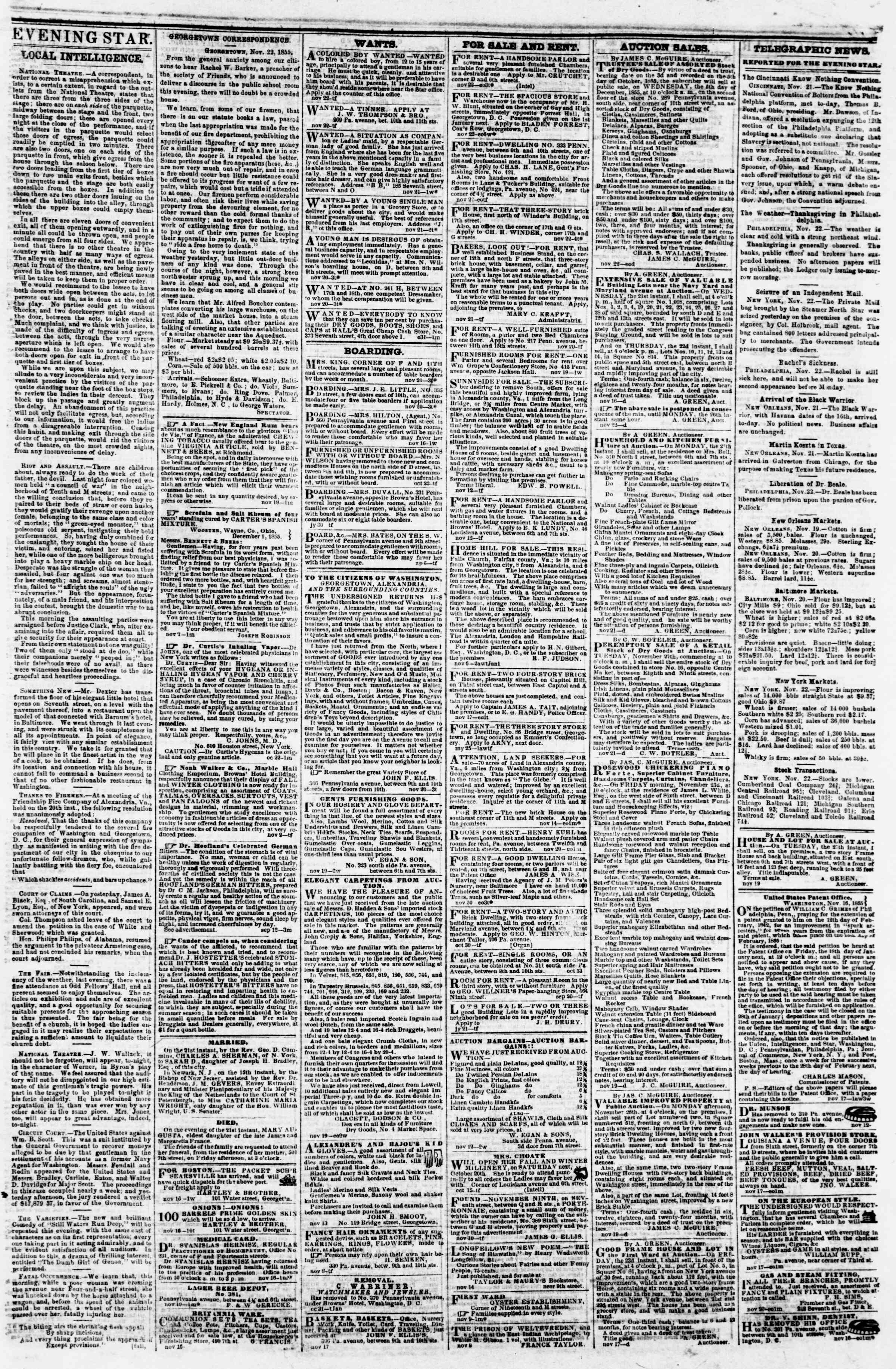Newspaper of Evening Star dated November 22, 1855 Page 3