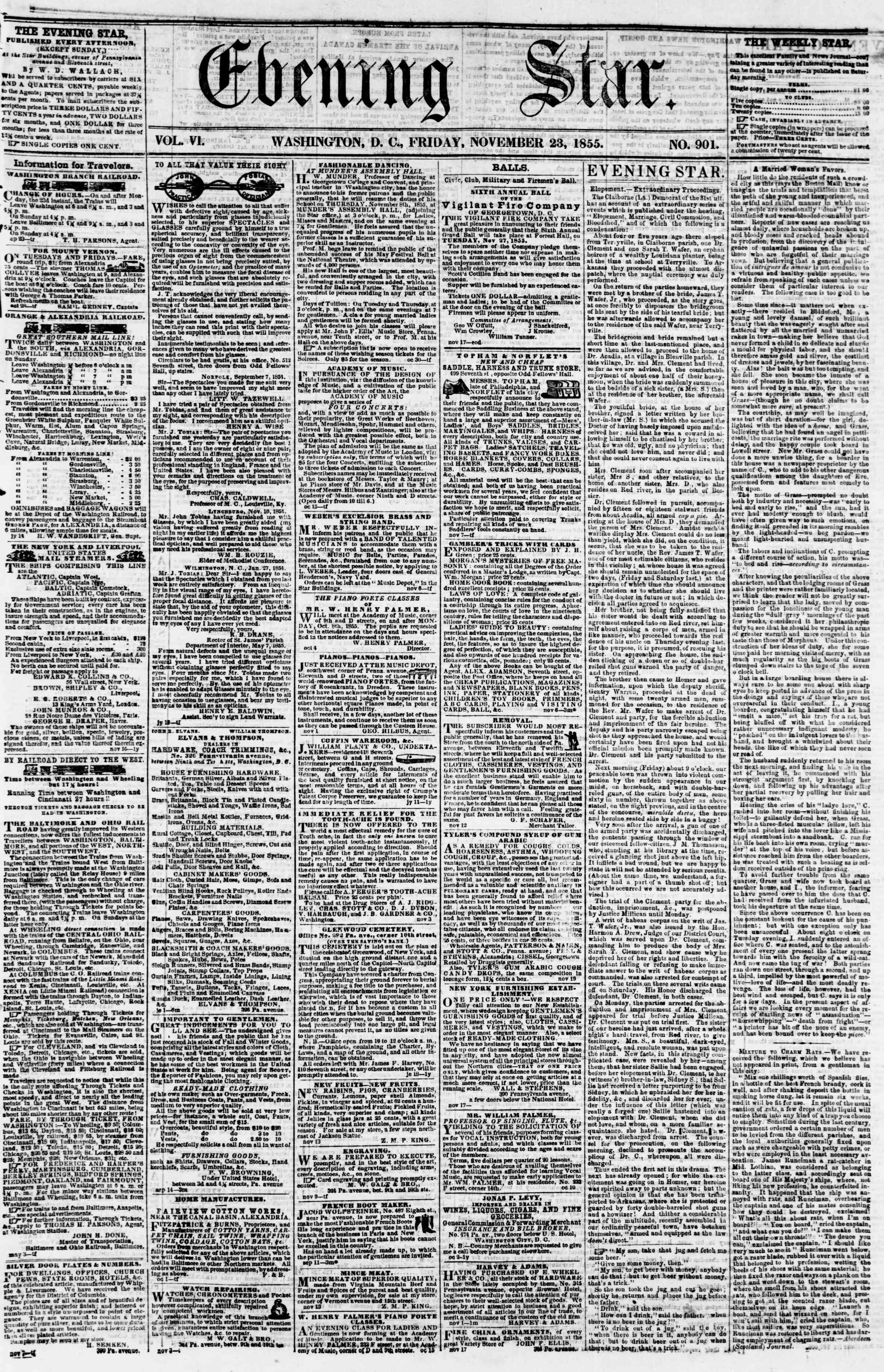 Newspaper of Evening Star dated 23 Kasım 1855 Page 1