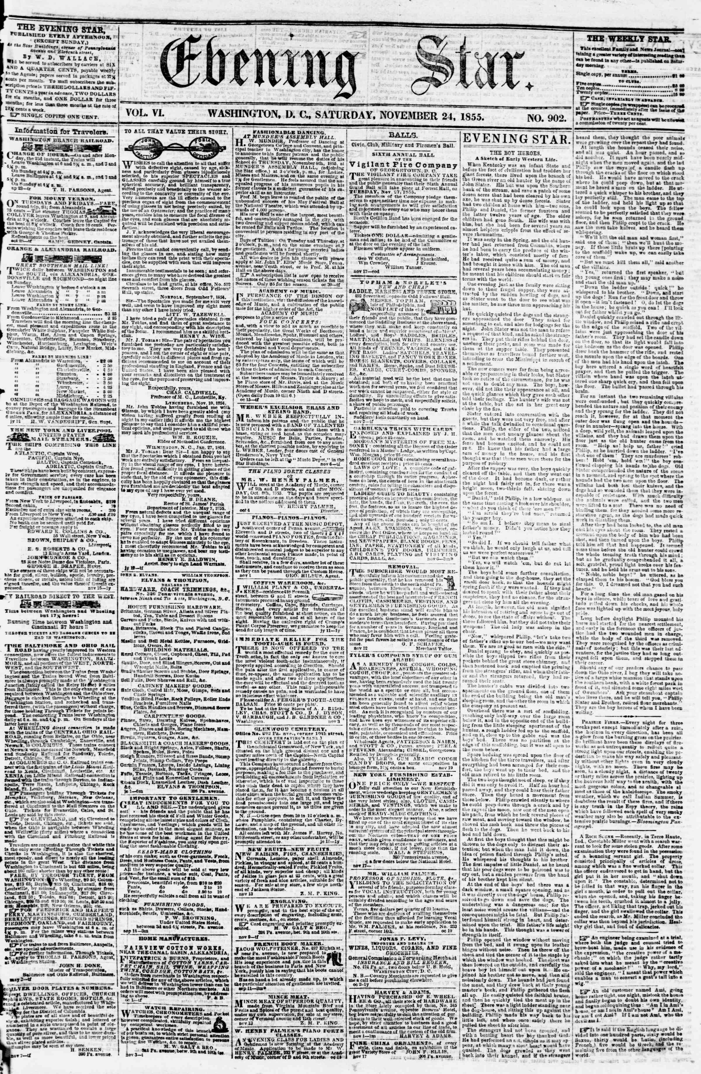 Newspaper of Evening Star dated November 24, 1855 Page 1