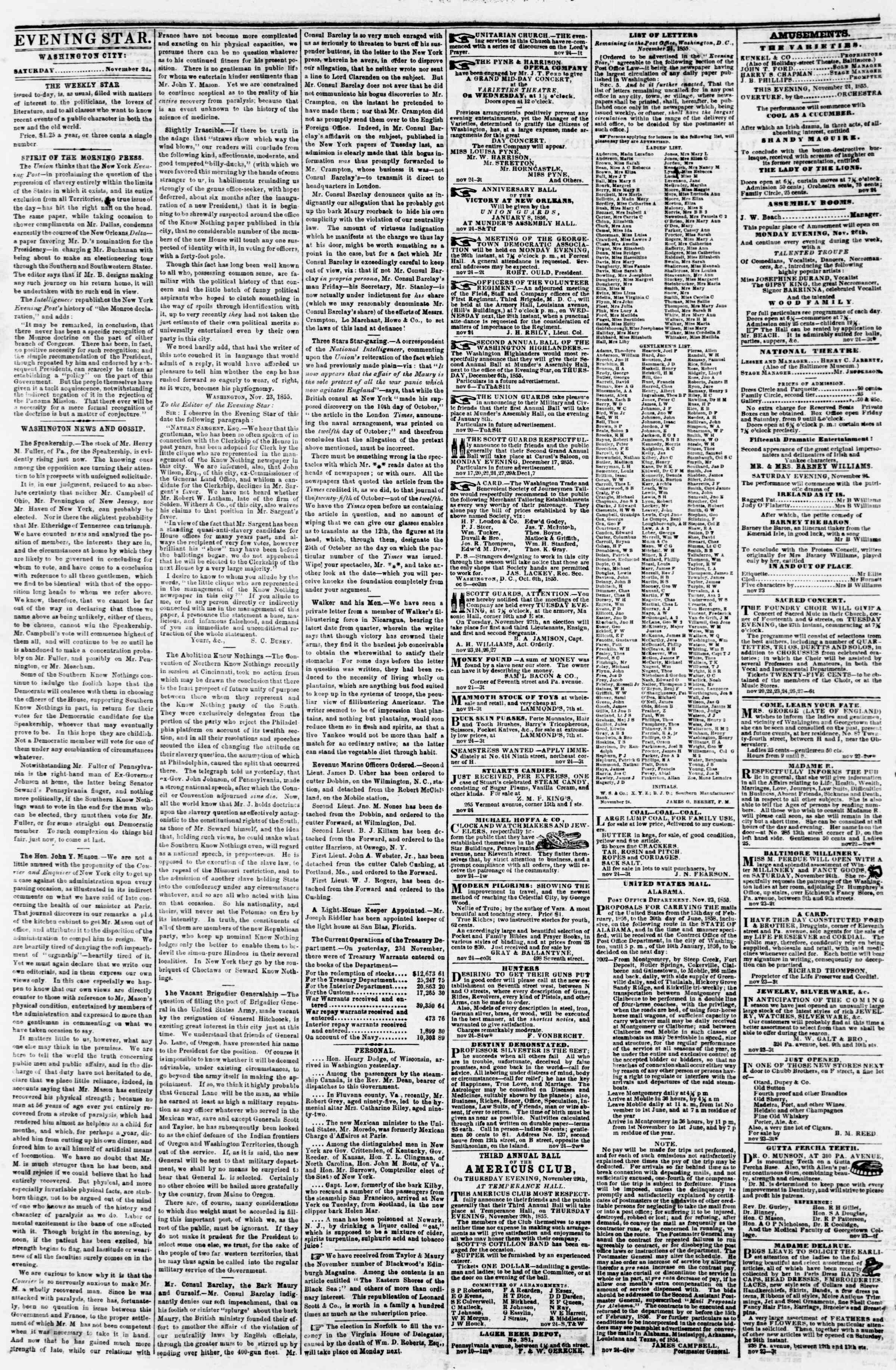 Newspaper of Evening Star dated November 24, 1855 Page 2