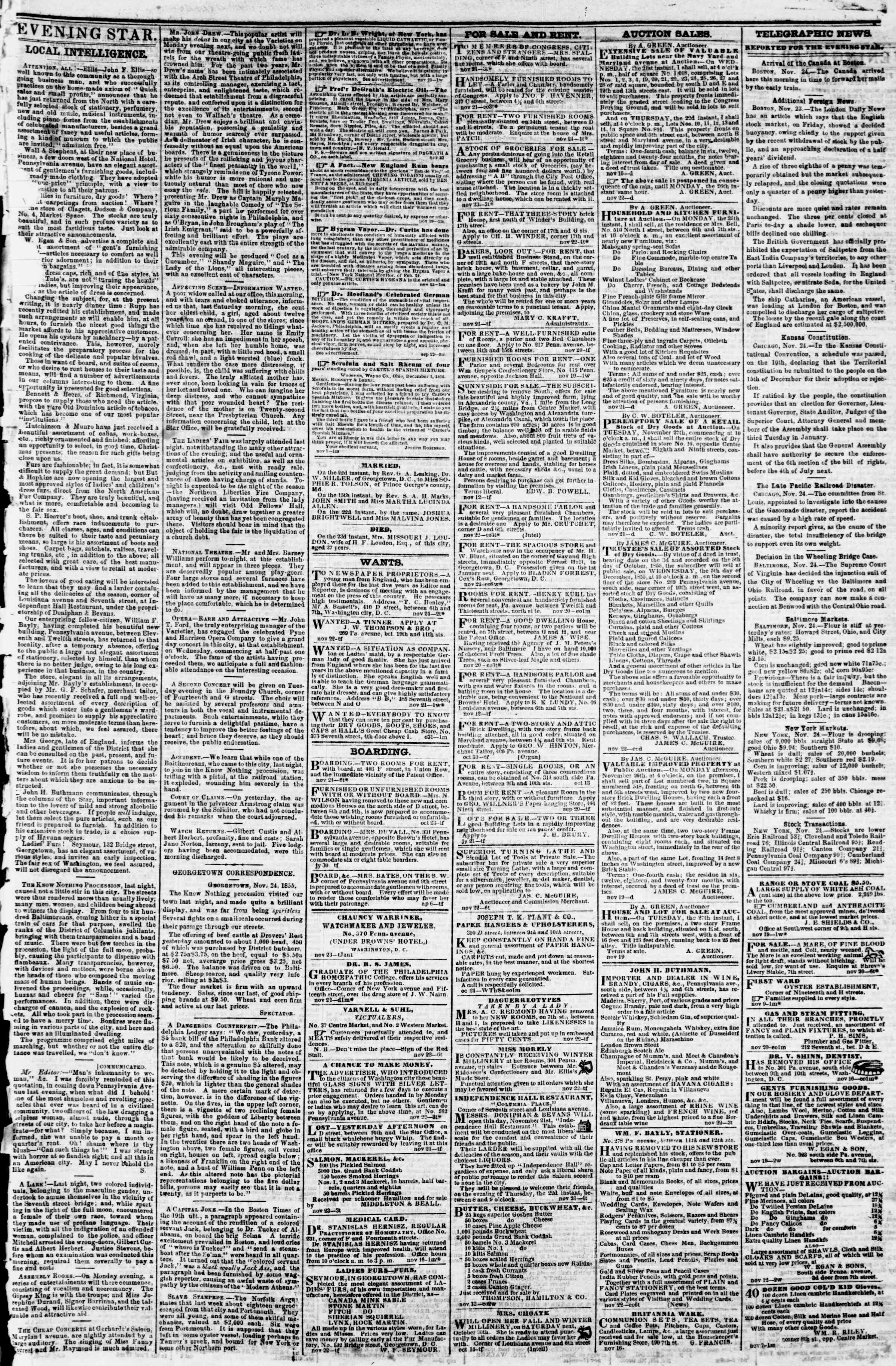 Newspaper of Evening Star dated November 24, 1855 Page 3
