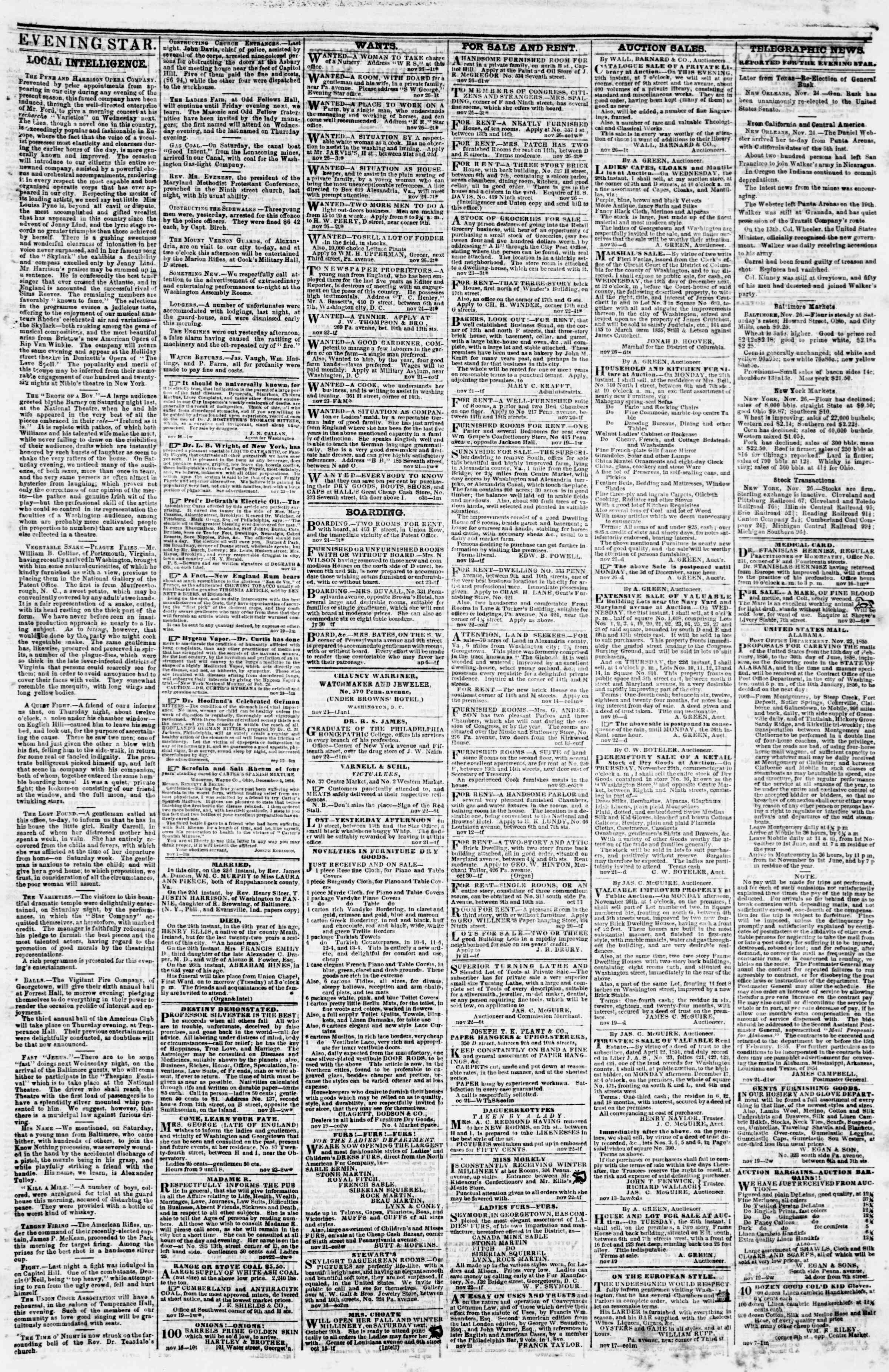 Newspaper of Evening Star dated November 26, 1855 Page 3