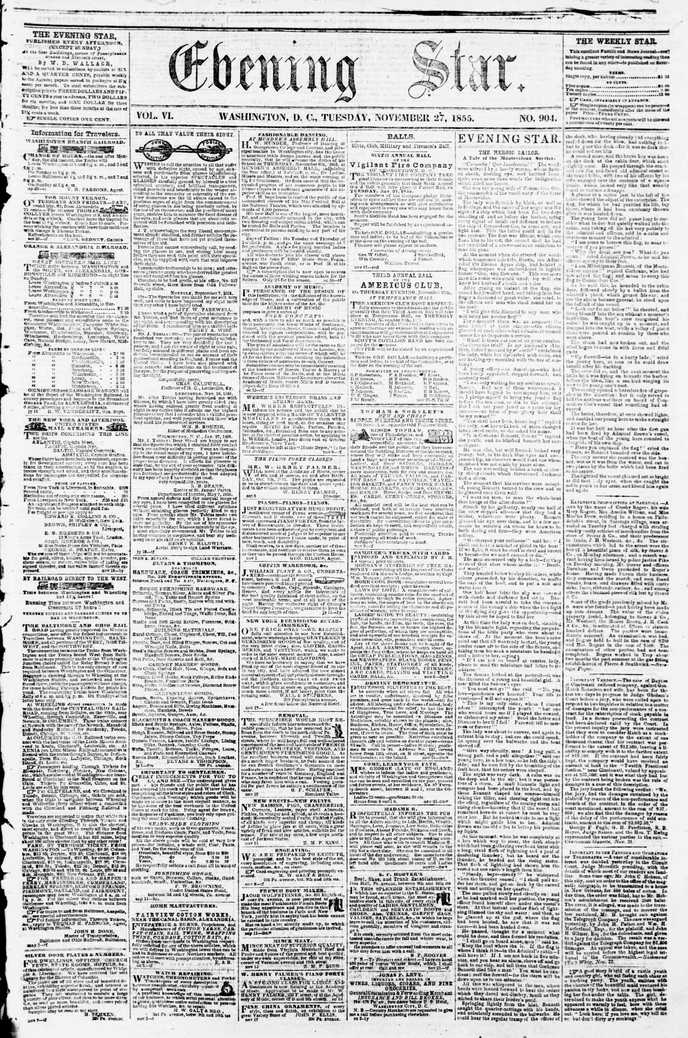 Newspaper of Evening Star dated November 27, 1855 Page 1