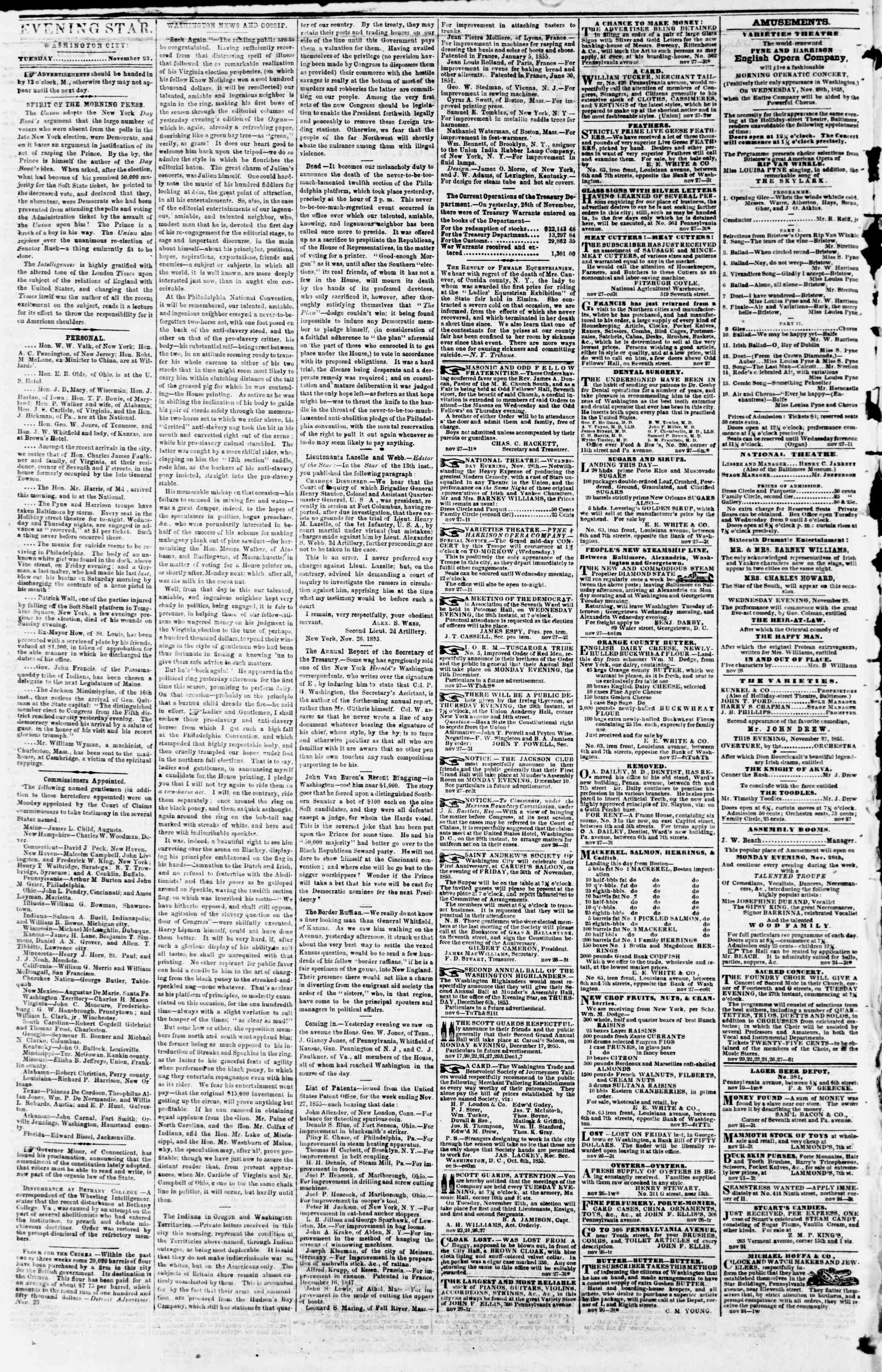Newspaper of Evening Star dated November 27, 1855 Page 2