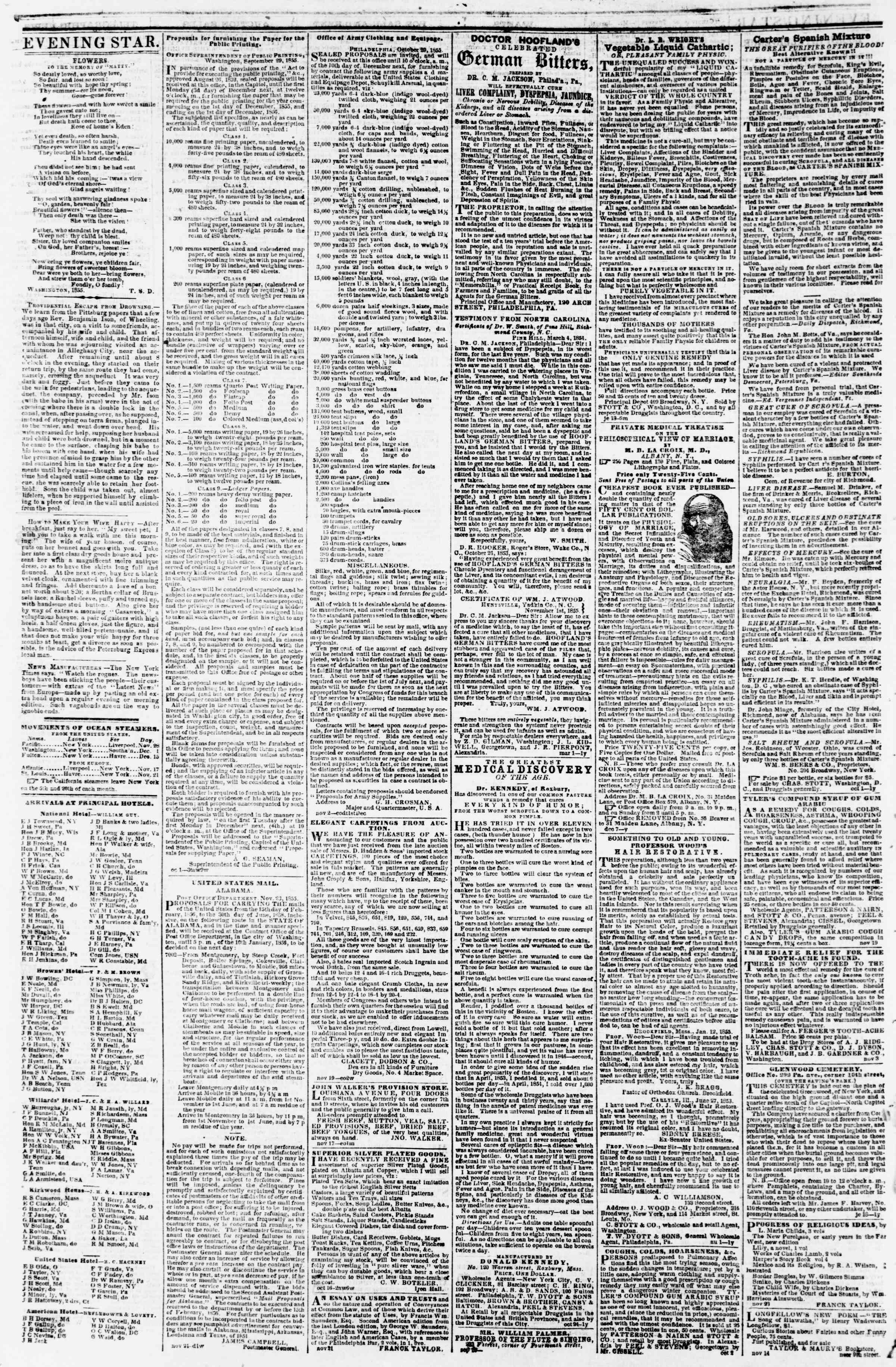 Newspaper of Evening Star dated November 27, 1855 Page 4