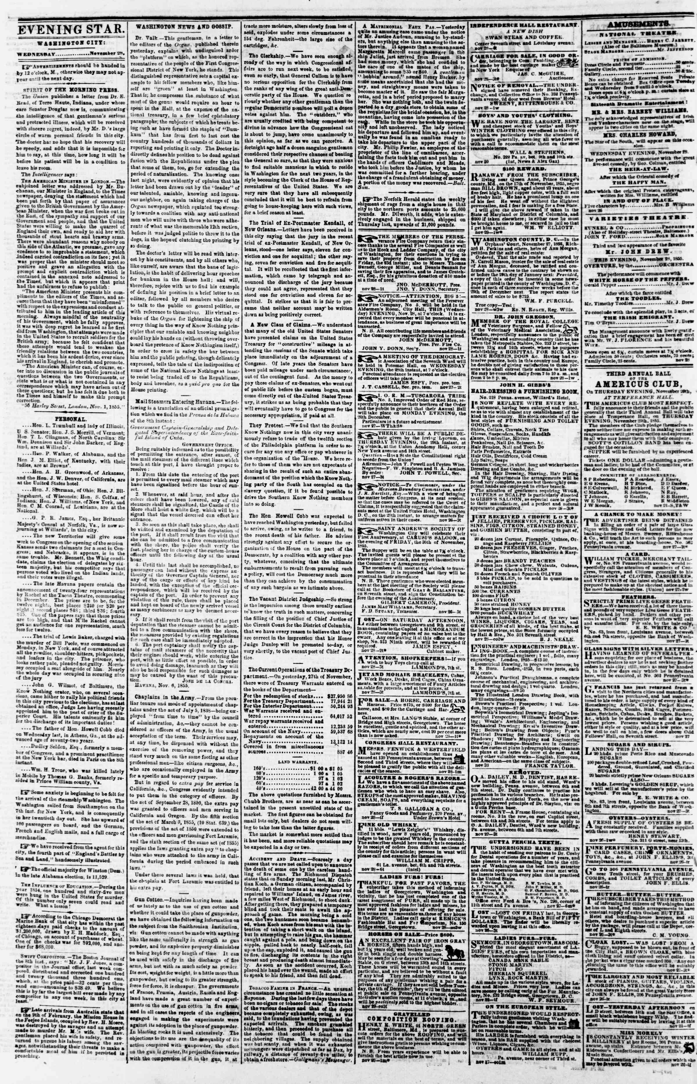 Newspaper of Evening Star dated November 28, 1855 Page 2