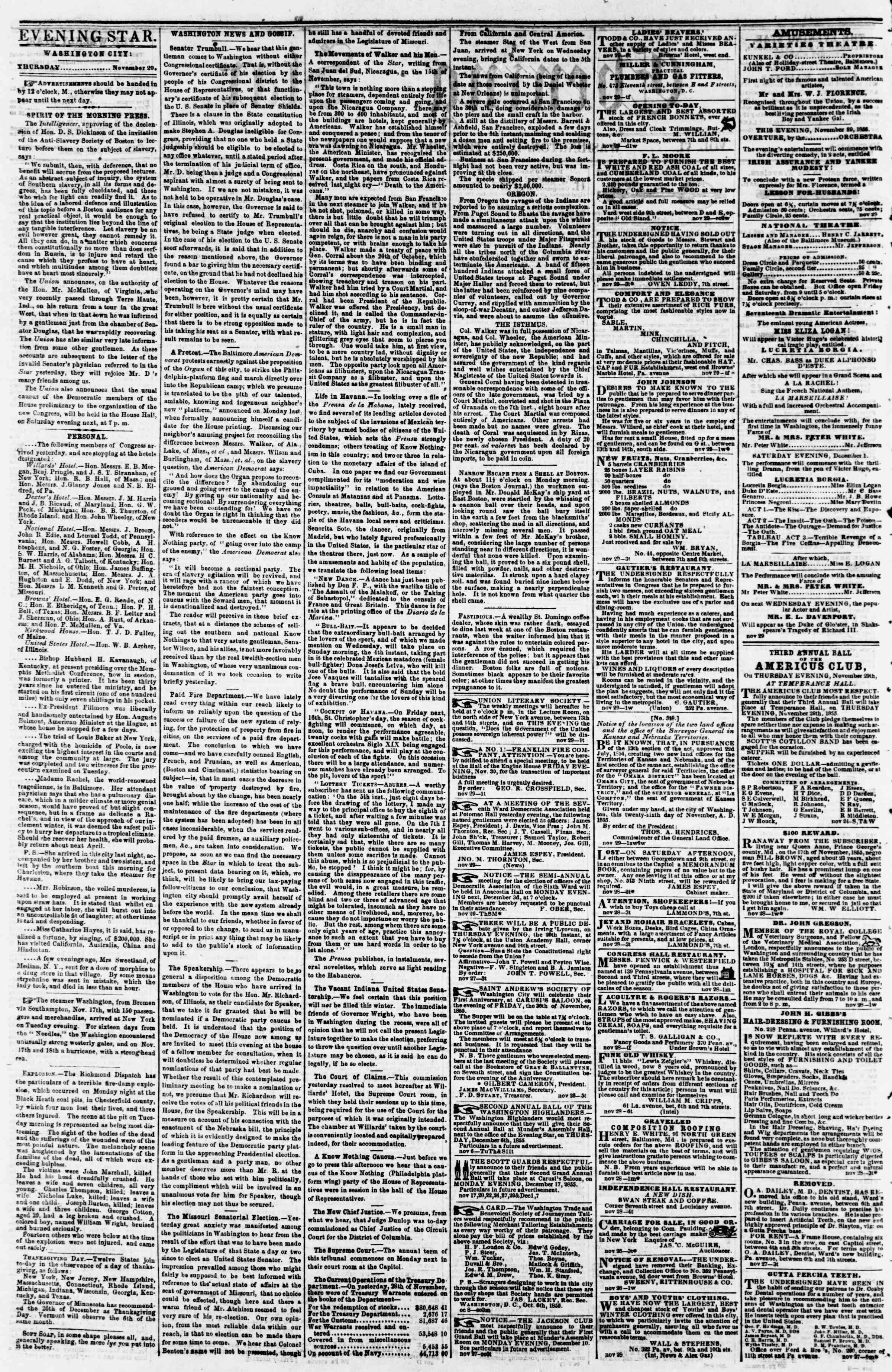 29 Kasım 1855 tarihli Evening Star Gazetesi Sayfa 2