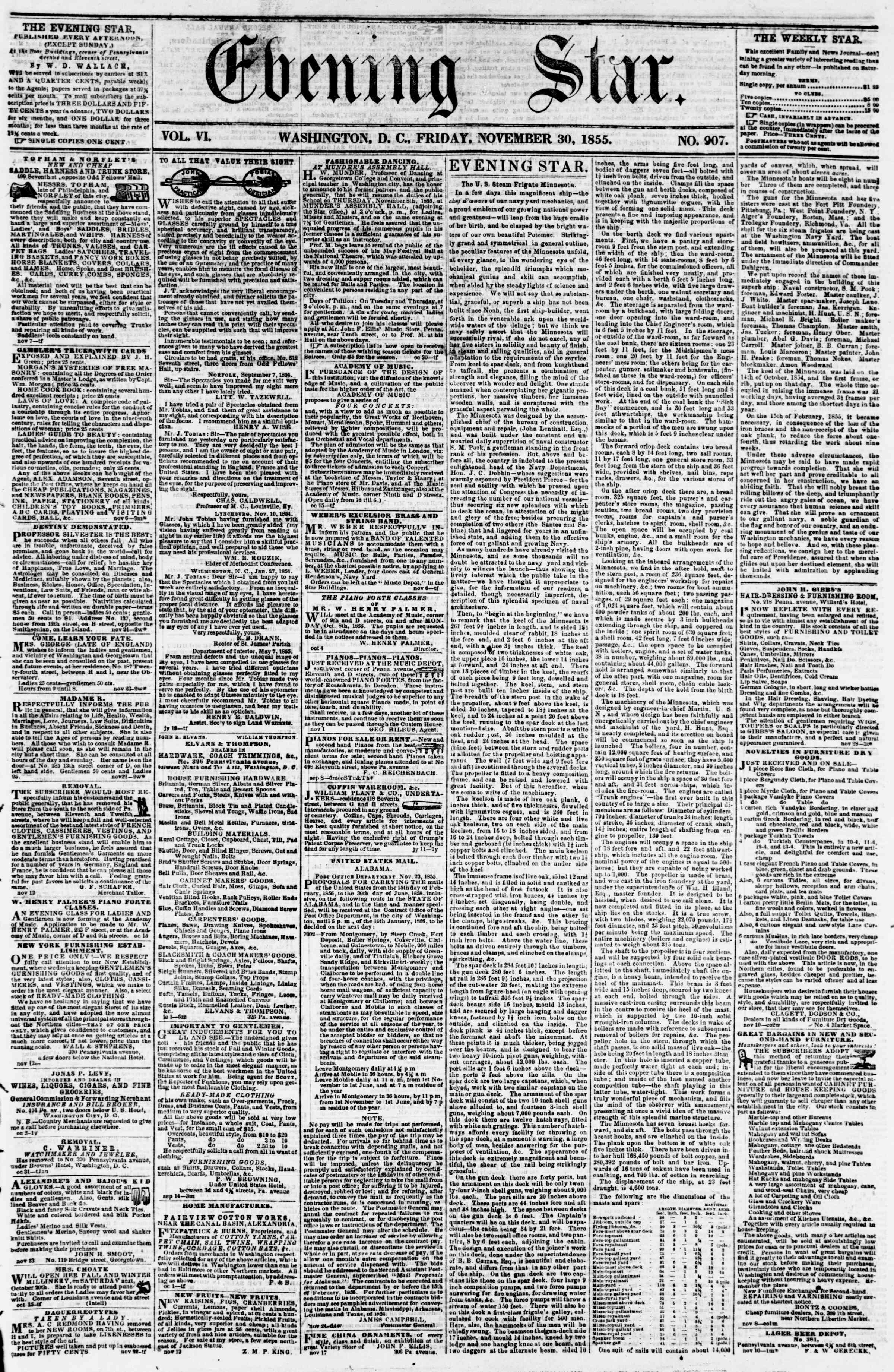 Newspaper of Evening Star dated November 30, 1855 Page 1