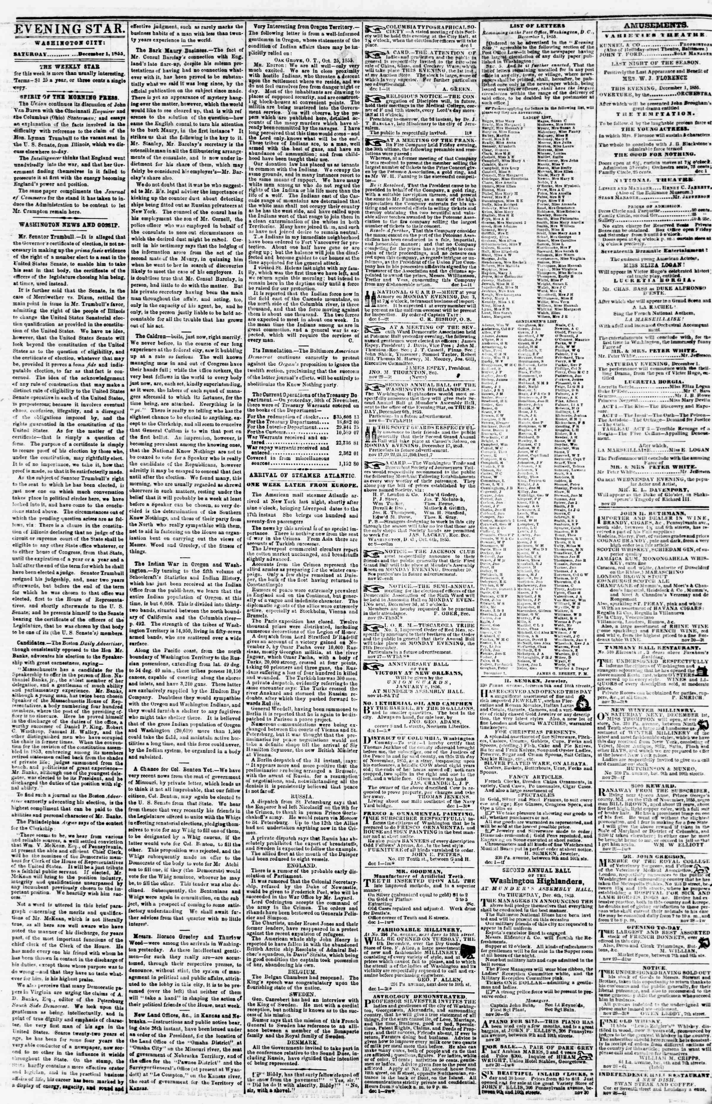 Newspaper of Evening Star dated December 1, 1855 Page 2