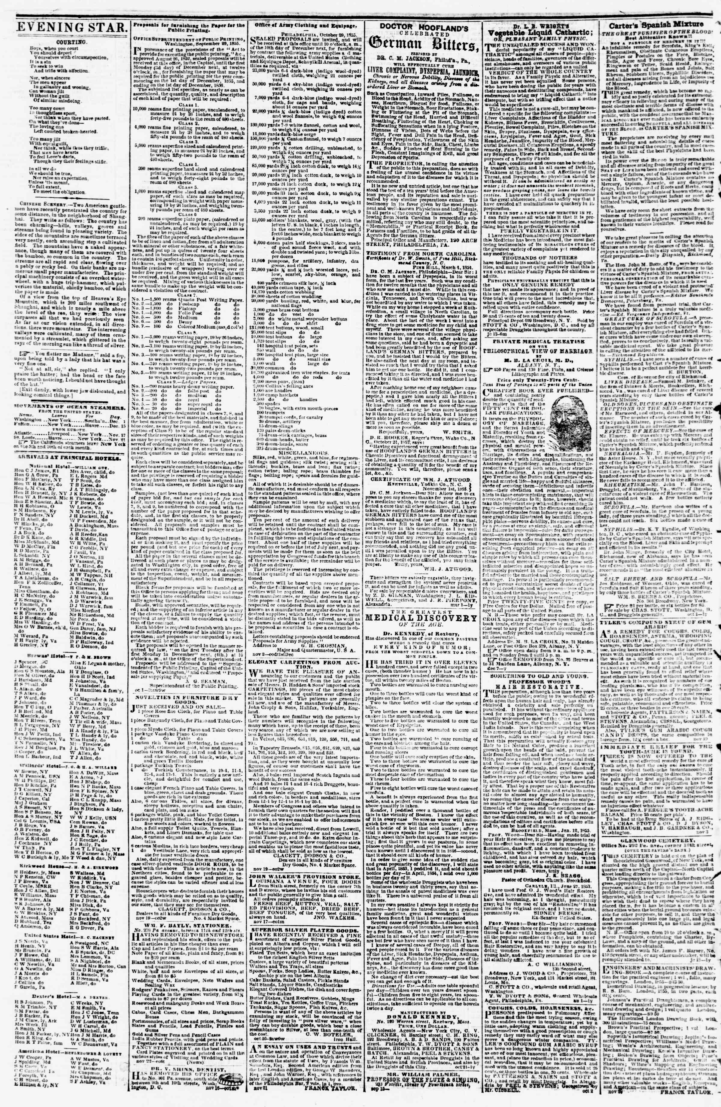 Newspaper of Evening Star dated December 1, 1855 Page 4