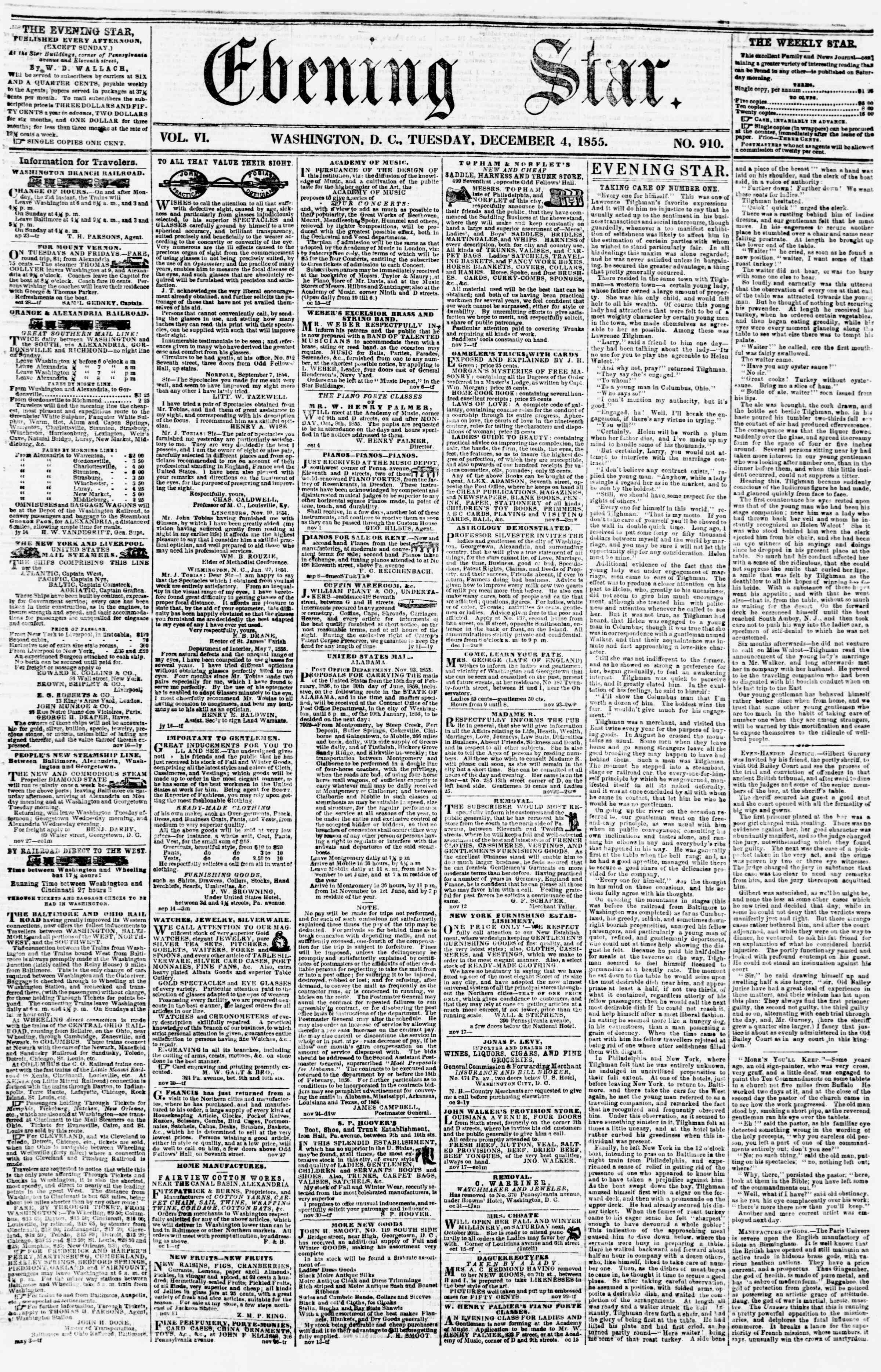 Newspaper of Evening Star dated December 4, 1855 Page 1