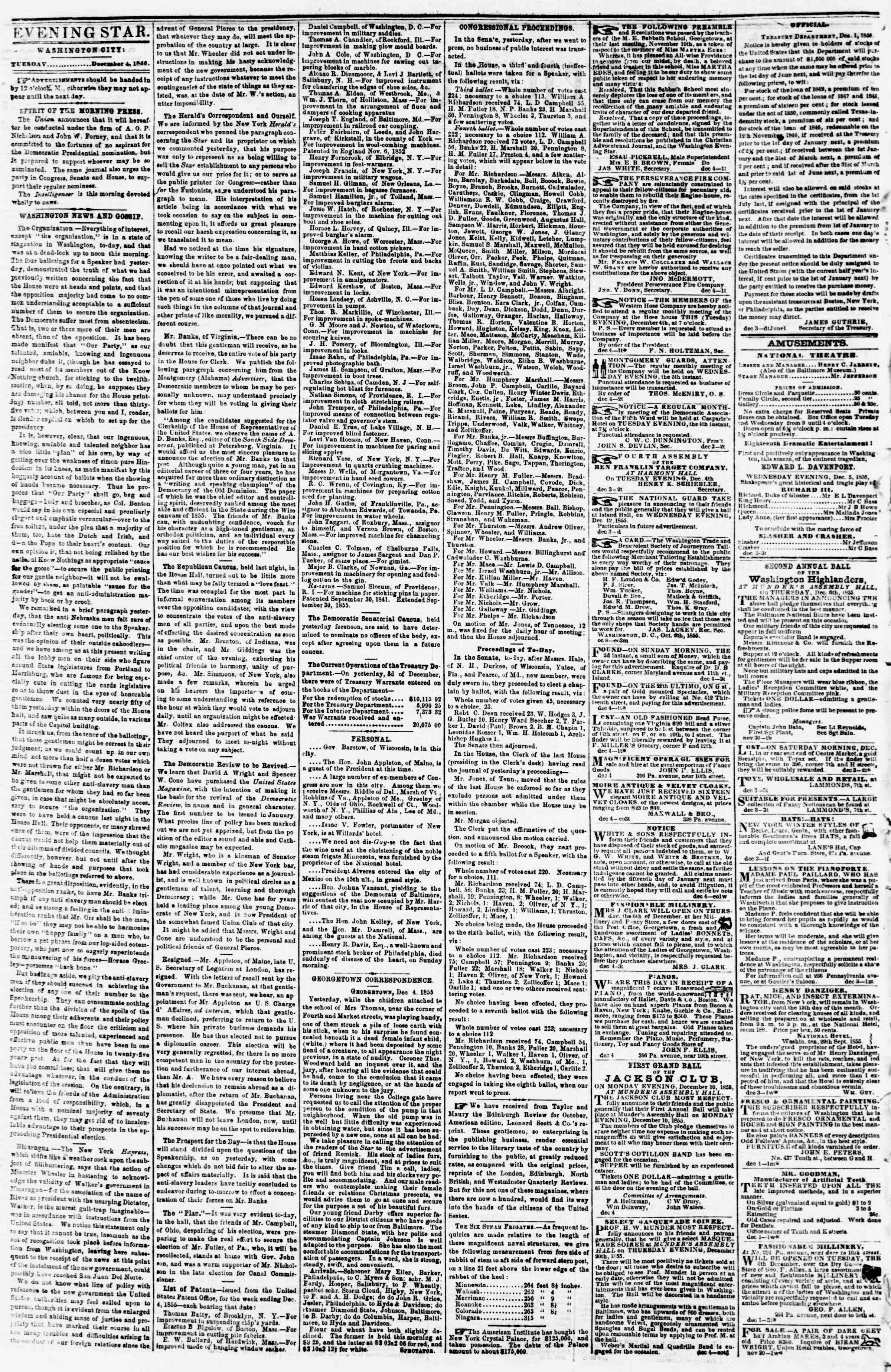 Newspaper of Evening Star dated December 4, 1855 Page 2