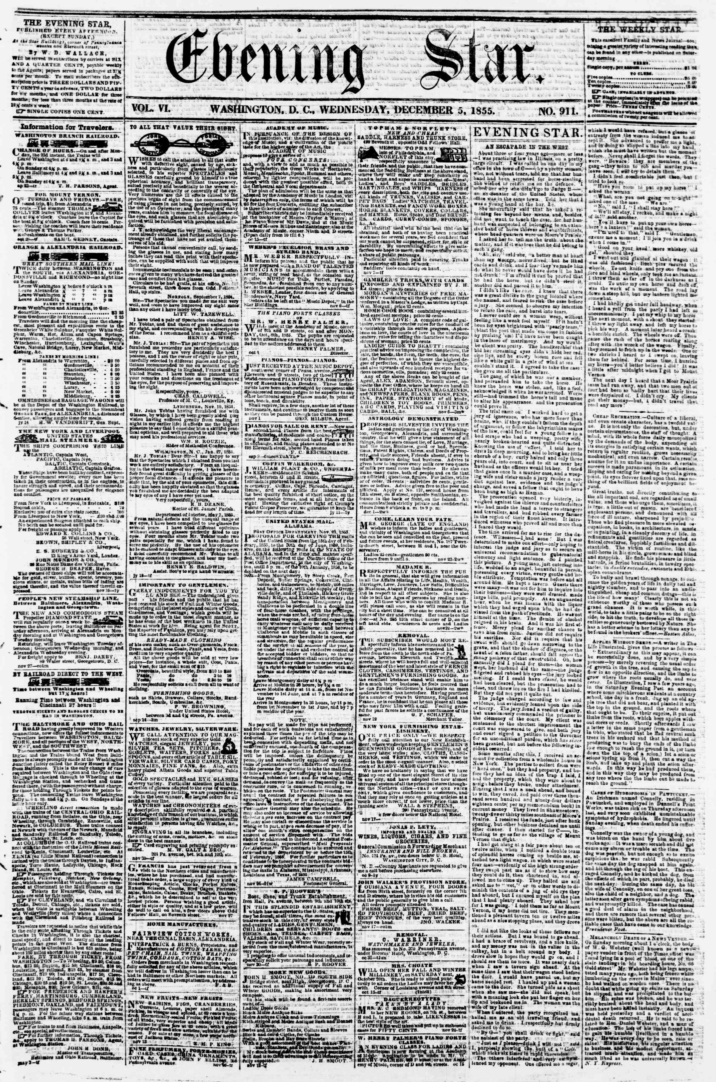 Newspaper of Evening Star dated December 5, 1855 Page 1
