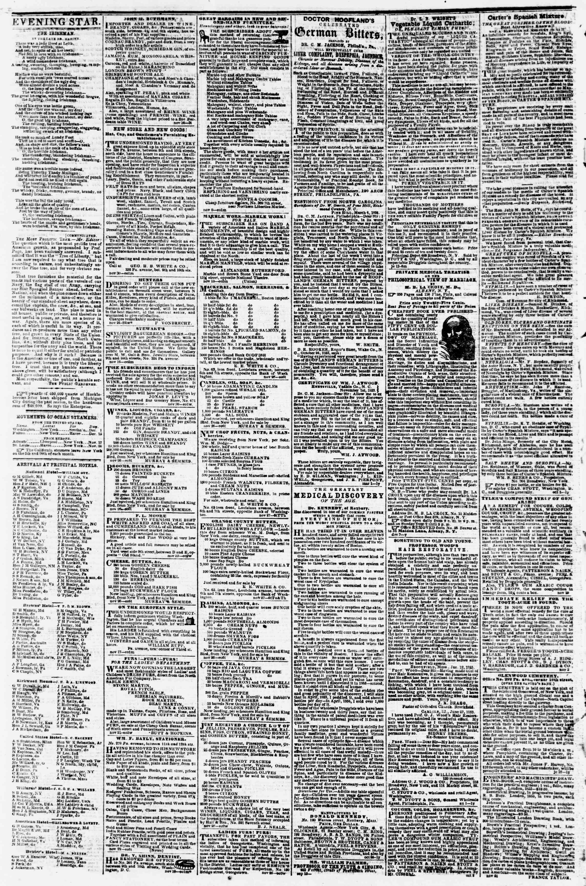 Newspaper of Evening Star dated December 5, 1855 Page 4