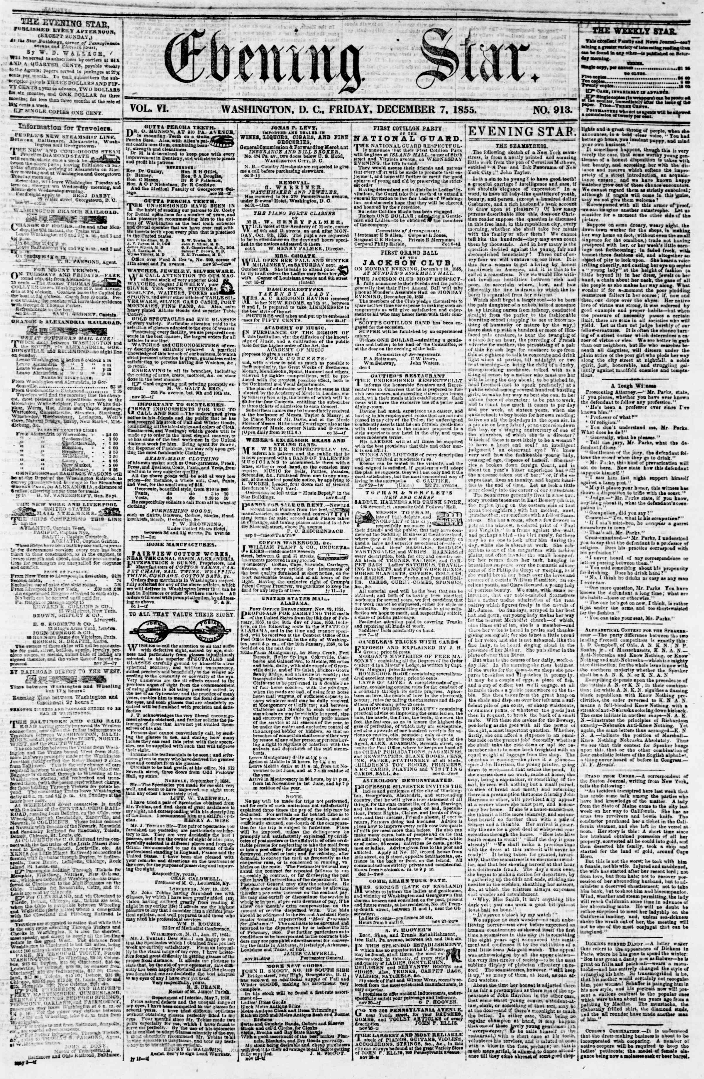Newspaper of Evening Star dated December 7, 1855 Page 1